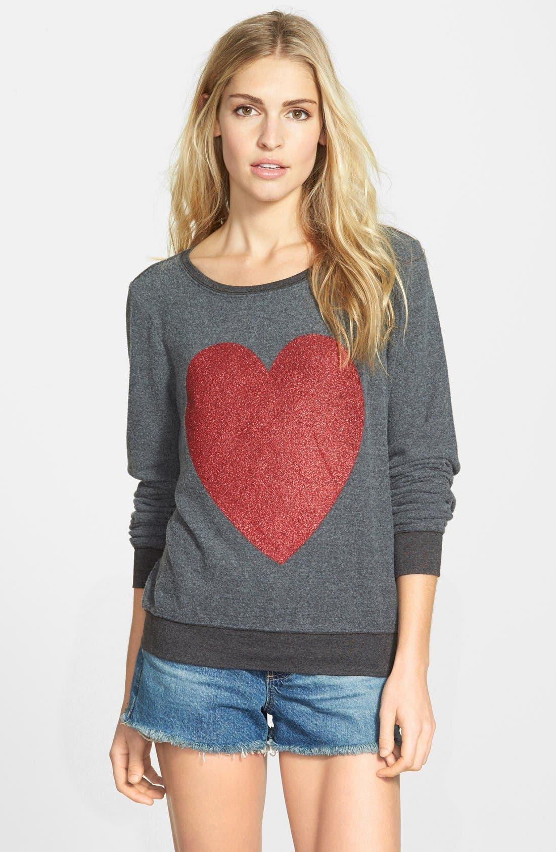 'Sparkle Heart' Sweatshirt,                         Main,                         color, 004