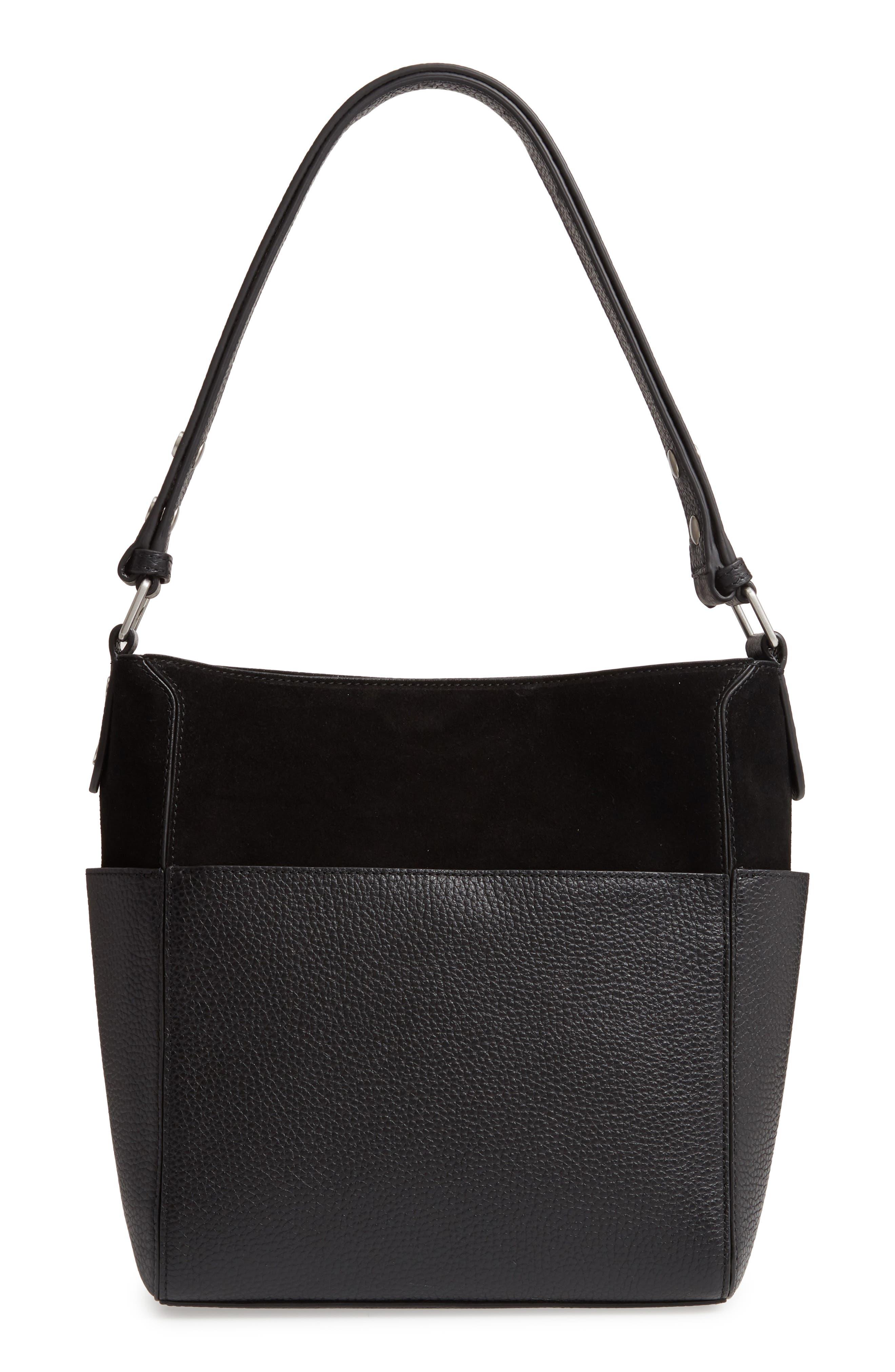 TREASURE & BOND Campbell Leather & Suede Bucket Bag, Main, color, BLACK