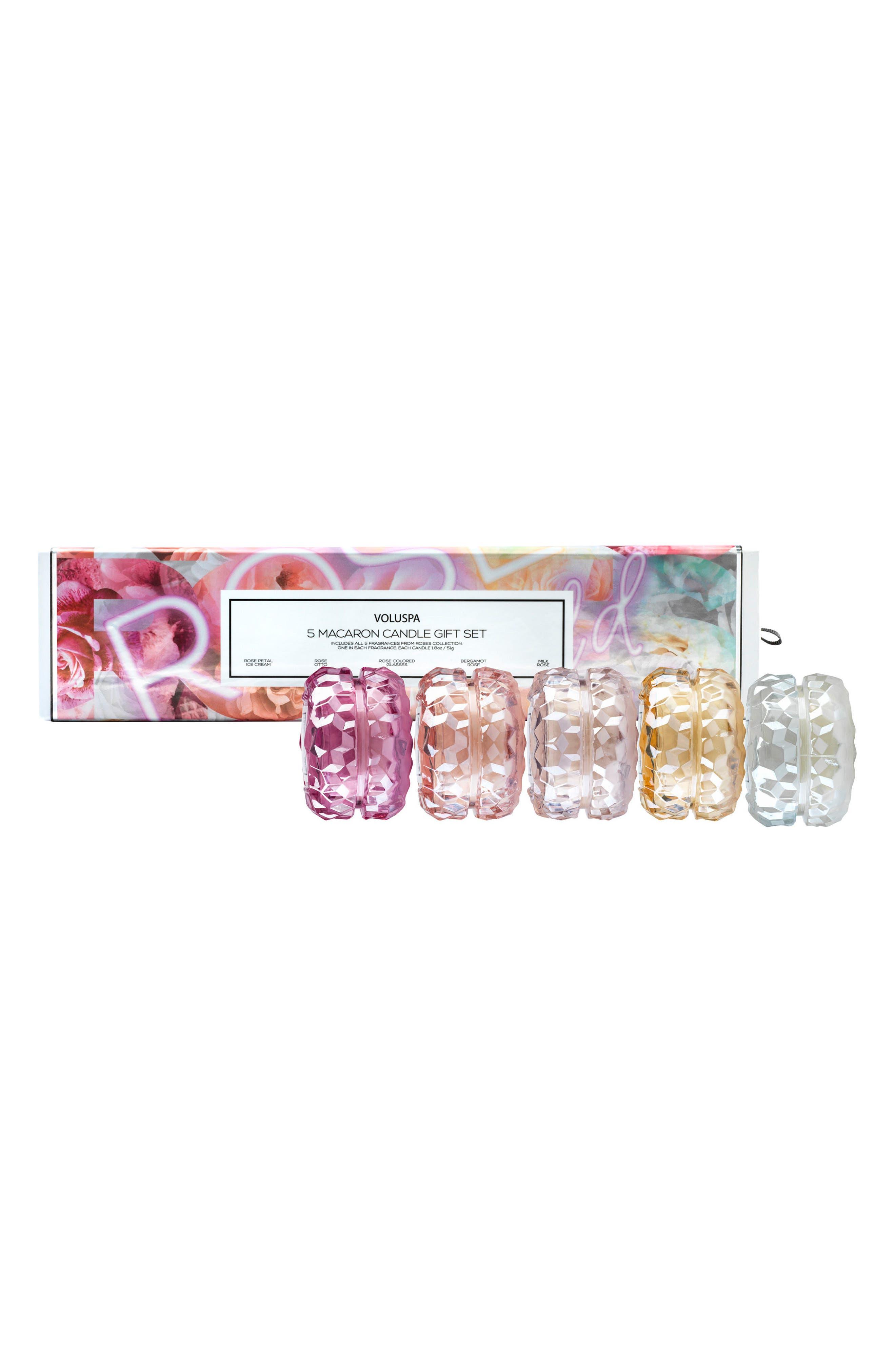 Roses Macaron Candle Set,                             Main thumbnail 1, color,                             NO COLOR