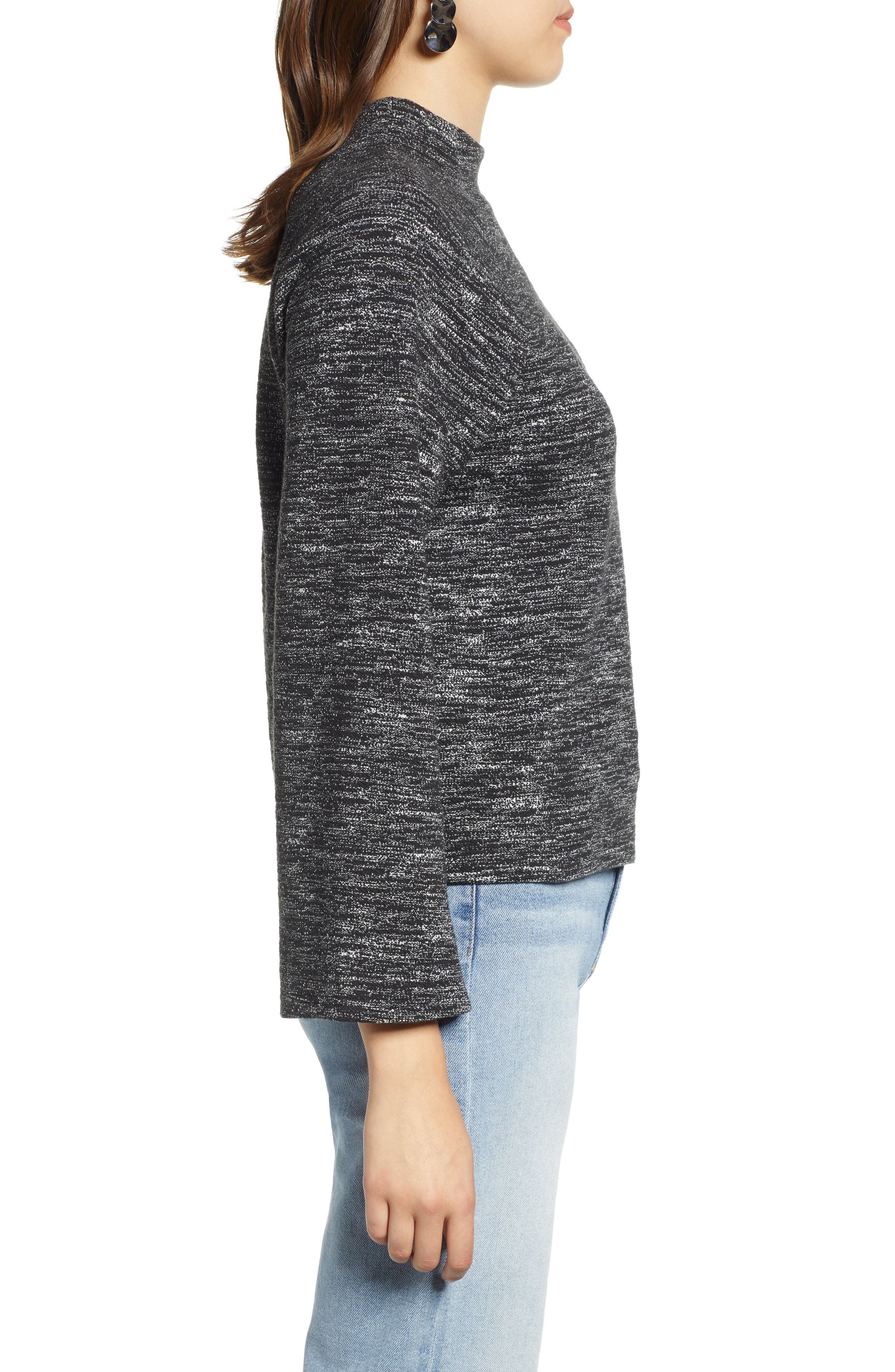 Bell Sleeve Ponte Top,                             Alternate thumbnail 3, color,                             BLACK- WHITE