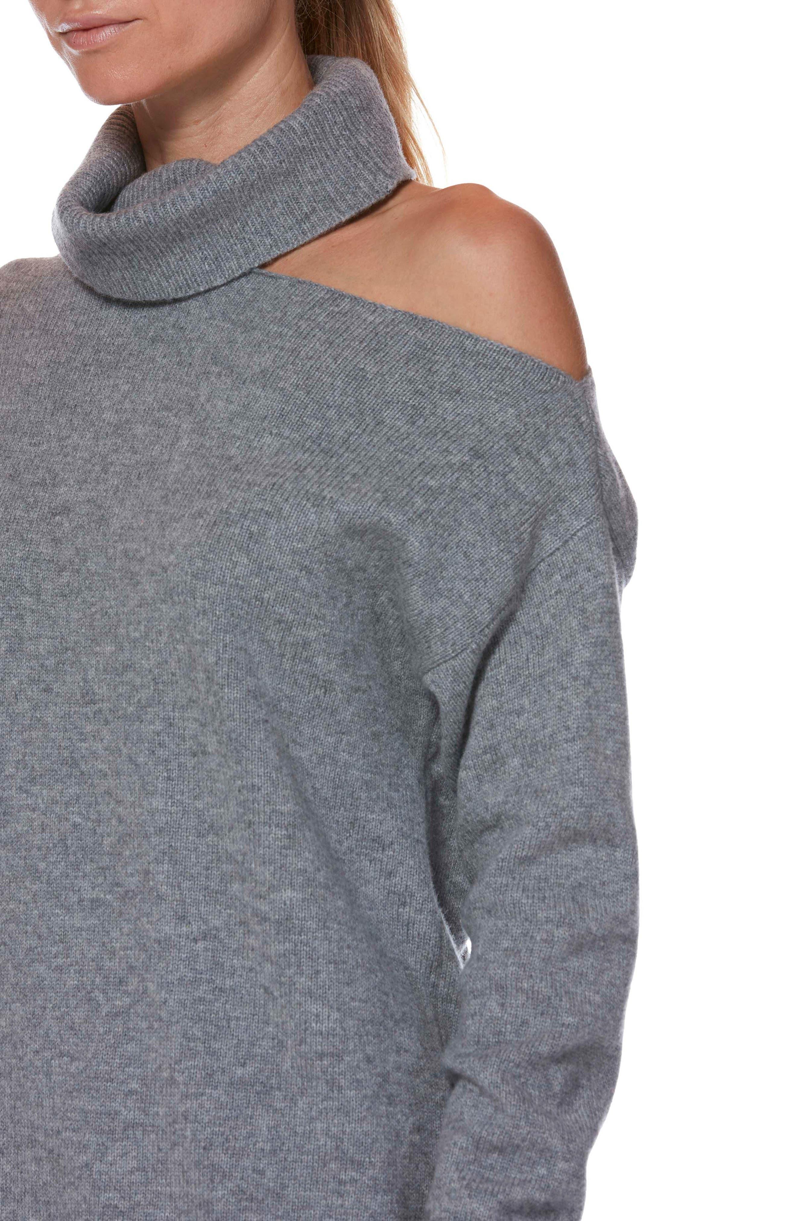 Raundi Cutout Shoulder Sweater,                             Alternate thumbnail 3, color,                             HEATHER GREY