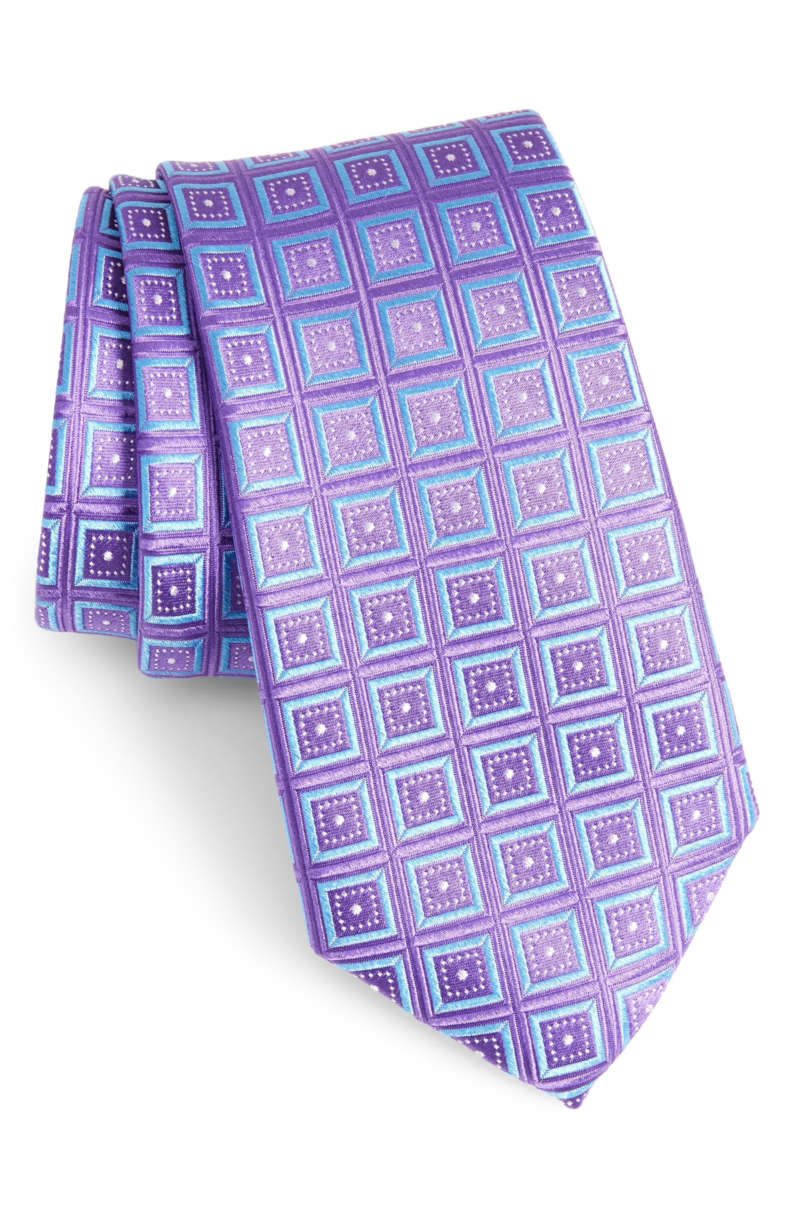 Sublime Squares Geometric Silk Tie,                         Main,                         color, LAVENDER