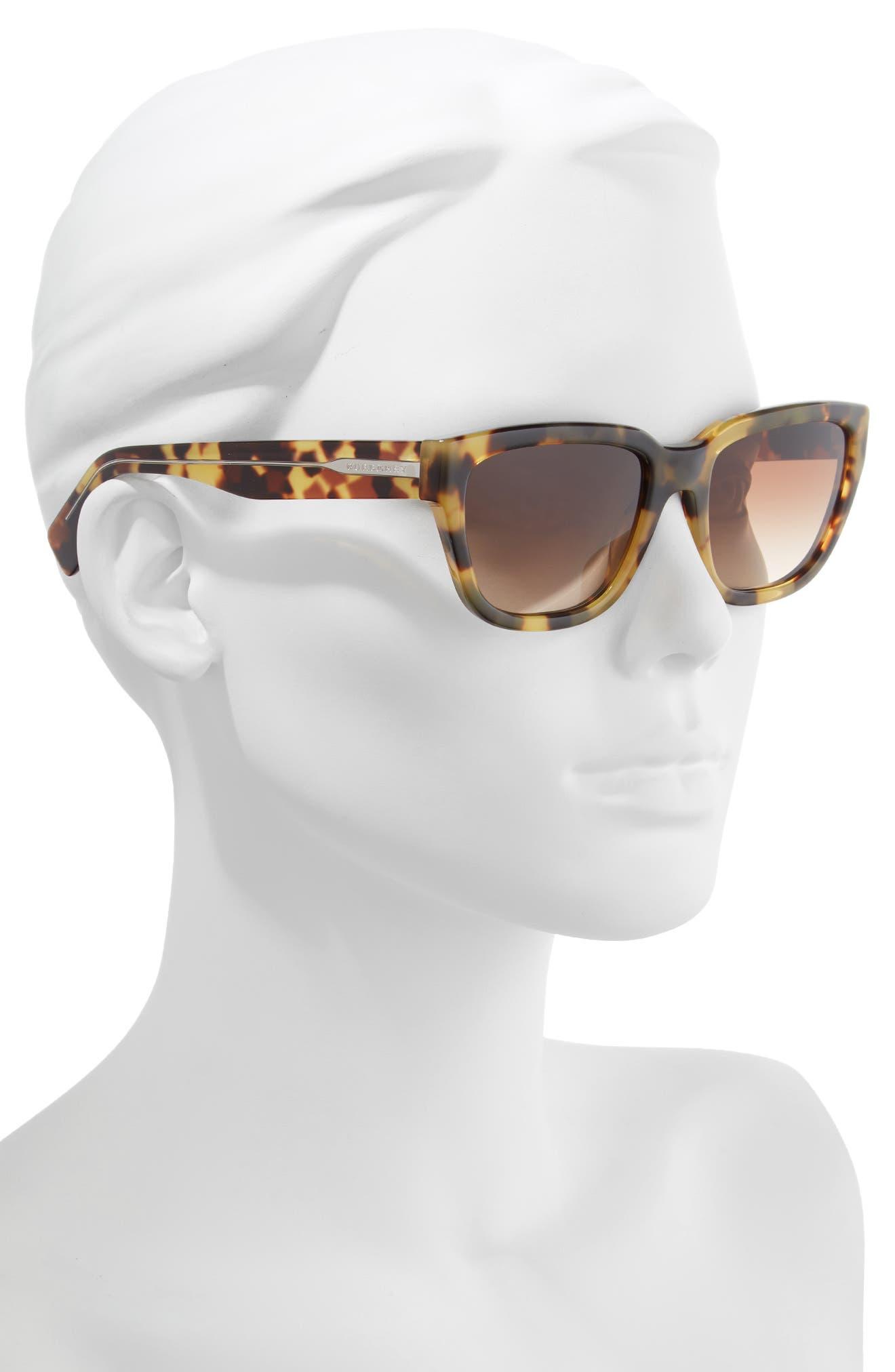 54mm Square Sunglasses,                             Alternate thumbnail 2, color,                             LITE HAVANA/ BROWN GRADIENT