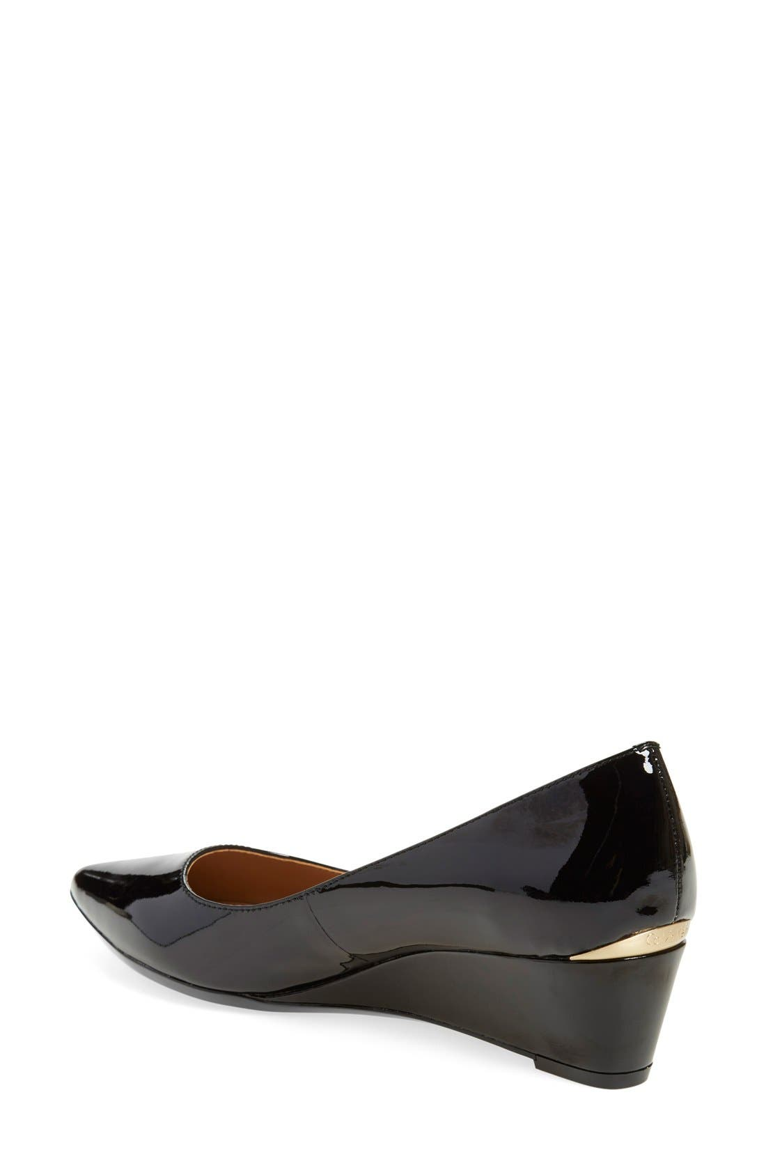 CALVIN KLEIN,                             'Germina' Pointy Toe Wedge,                             Alternate thumbnail 2, color,                             BLACK PATENT LEATHER