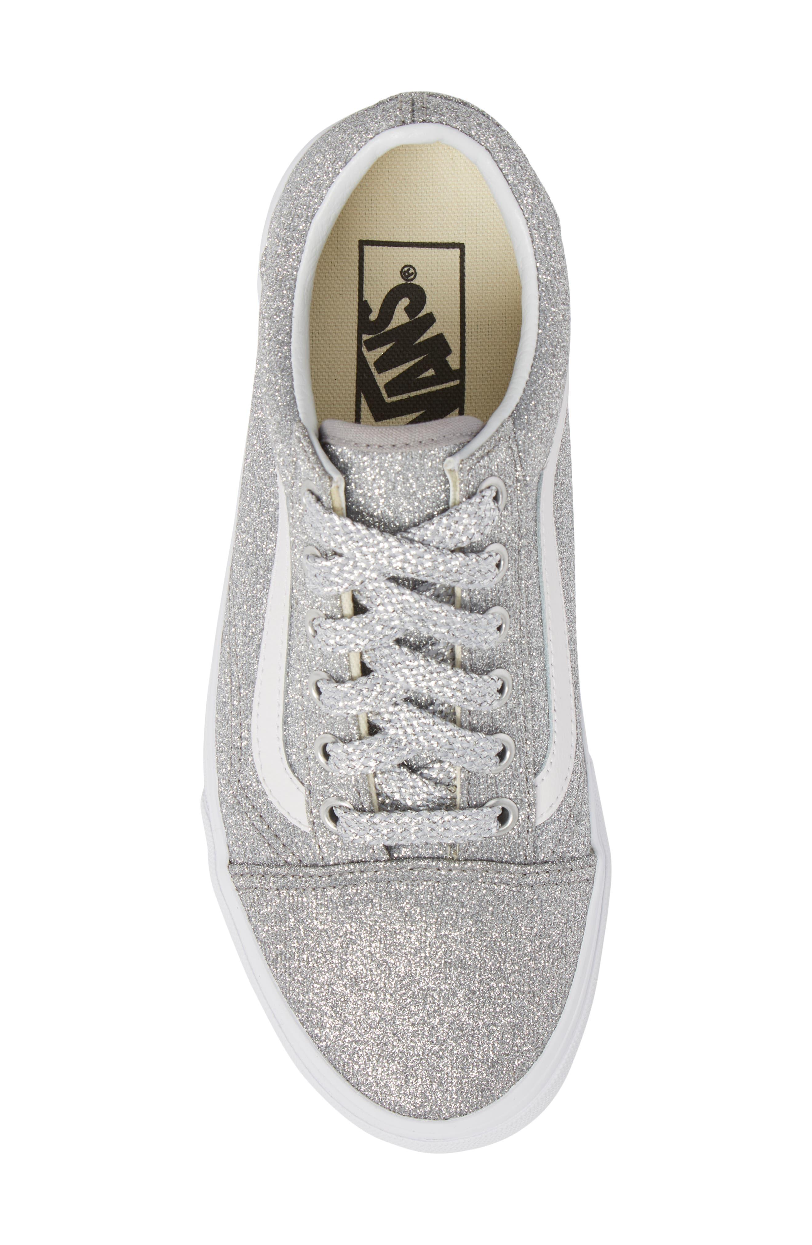 UA Old Skool Glitter Low Top Sneaker,                             Alternate thumbnail 5, color,                             SILVER/ TRUE WHITE GLITTER