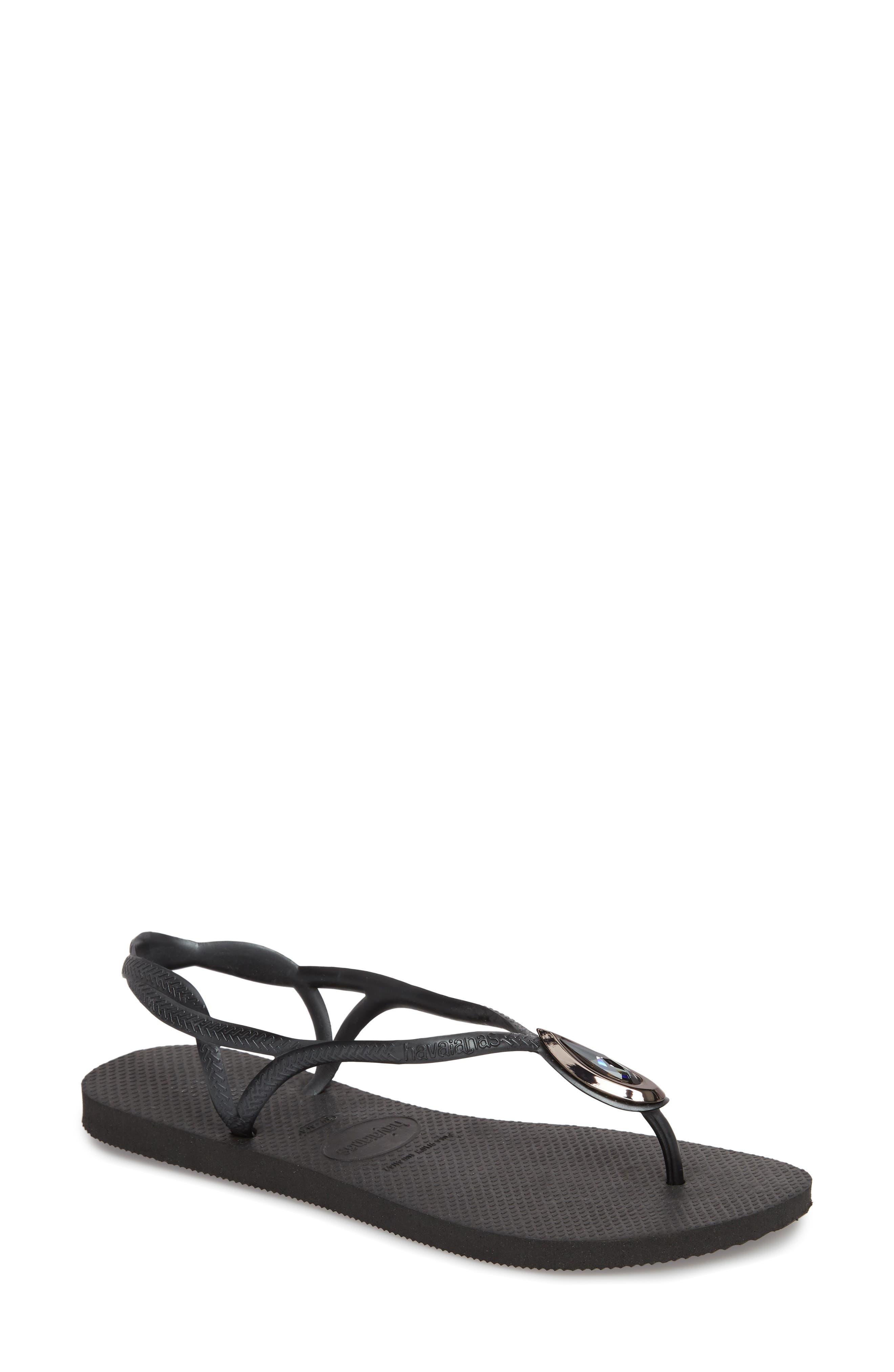 Luna Sandal,                         Main,                         color, BLACK/ BLACK