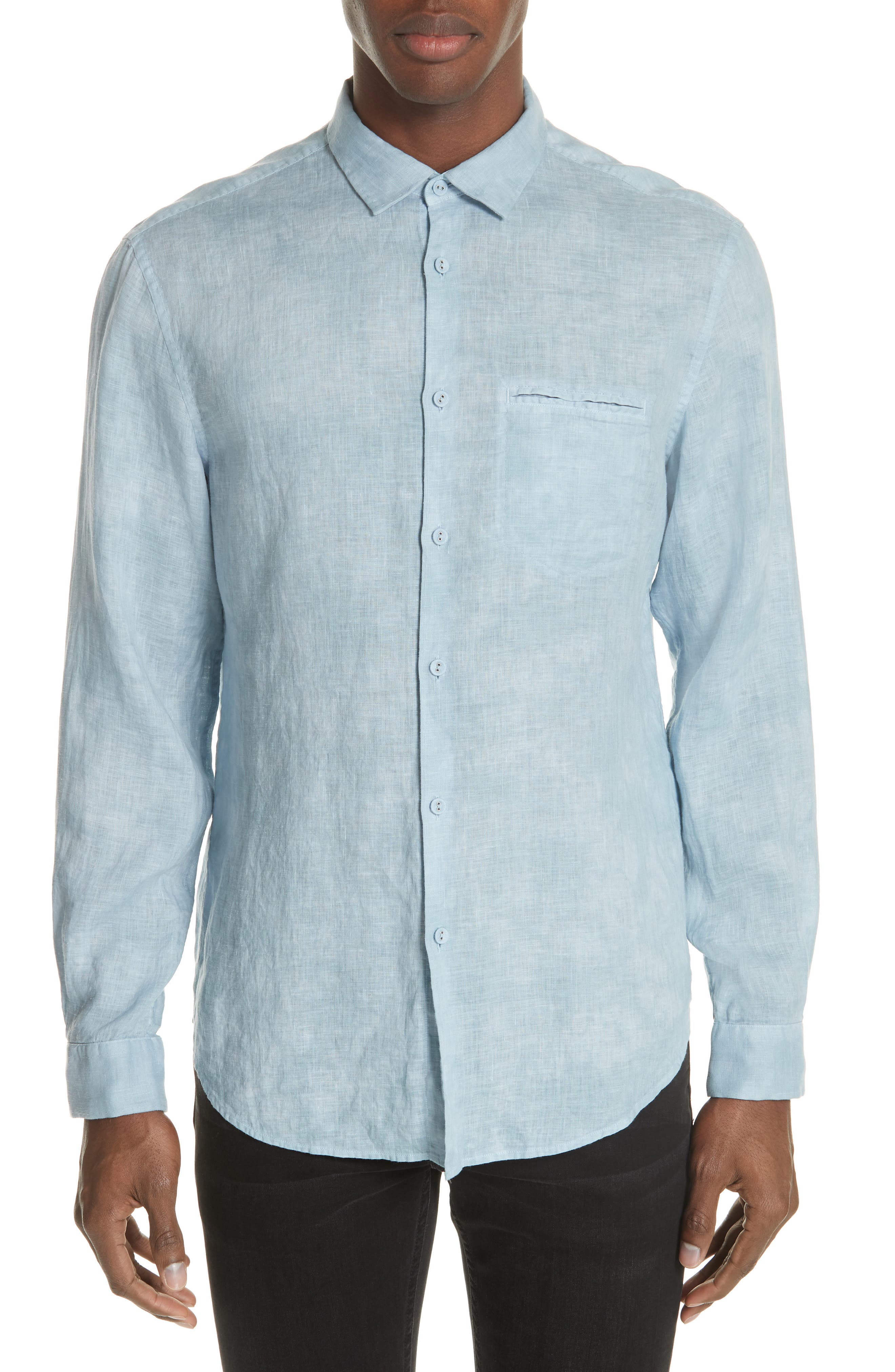 Linen Sport Shirt,                             Main thumbnail 1, color,                             SKY BLUE