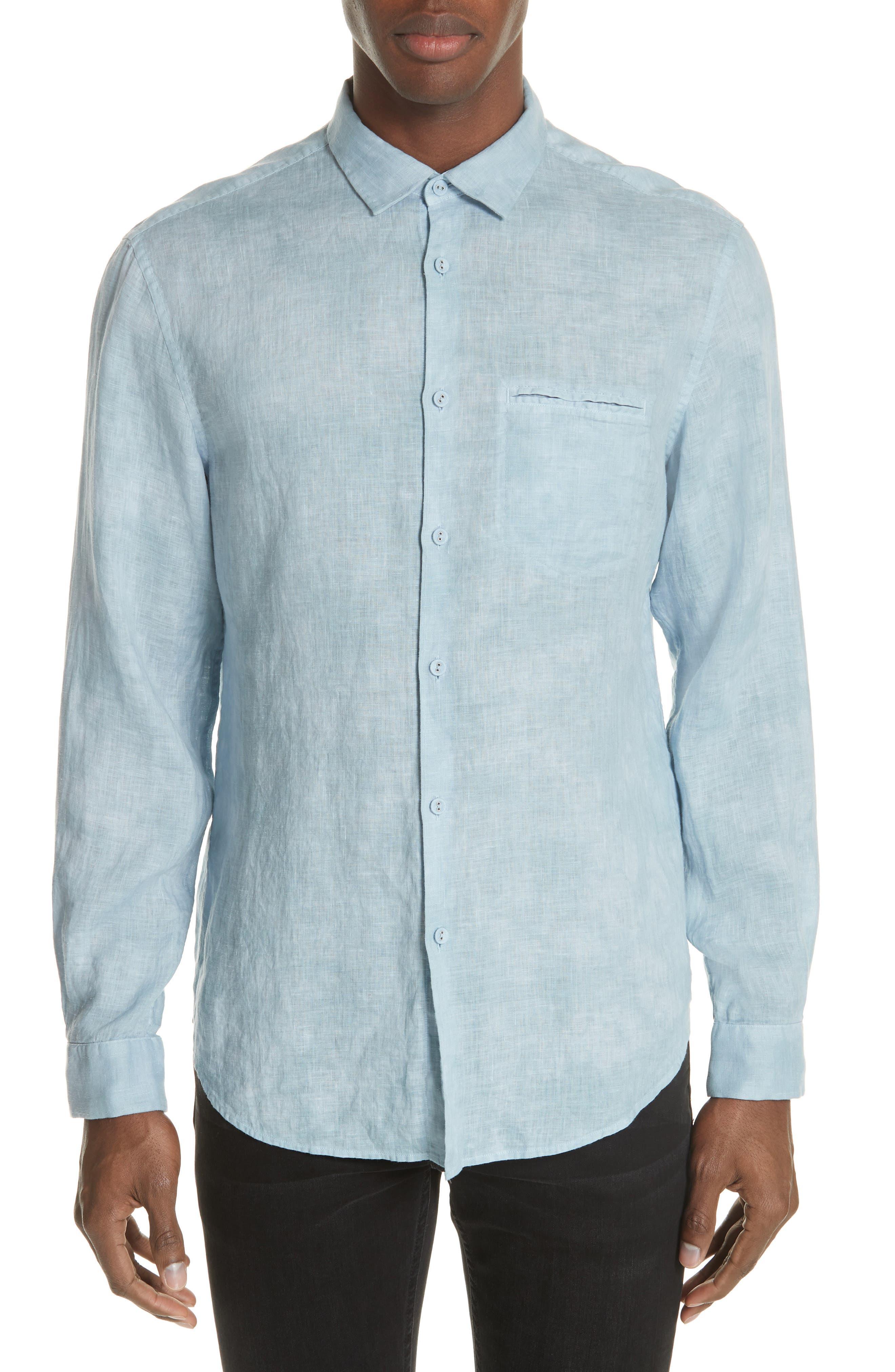 Linen Sport Shirt,                         Main,                         color, SKY BLUE