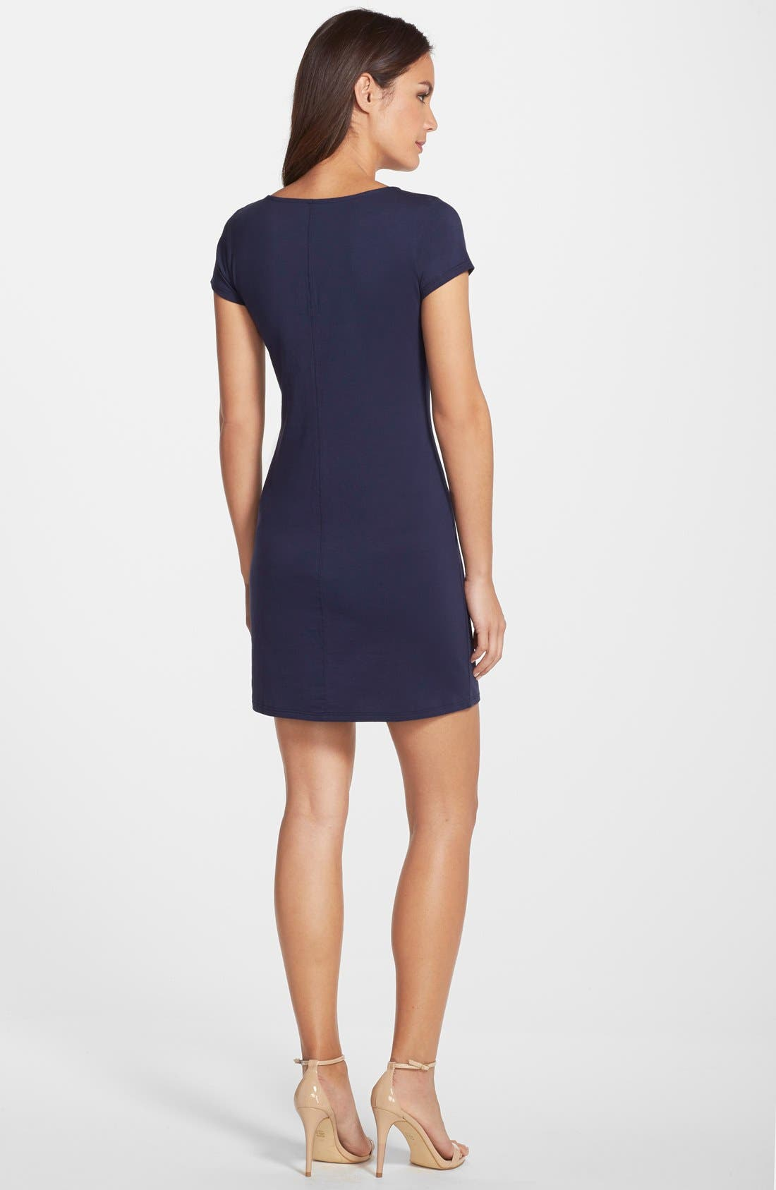 'Brewster' Contrast Trim T-Shirt Dress,                             Alternate thumbnail 9, color,                             TRUE NAVY