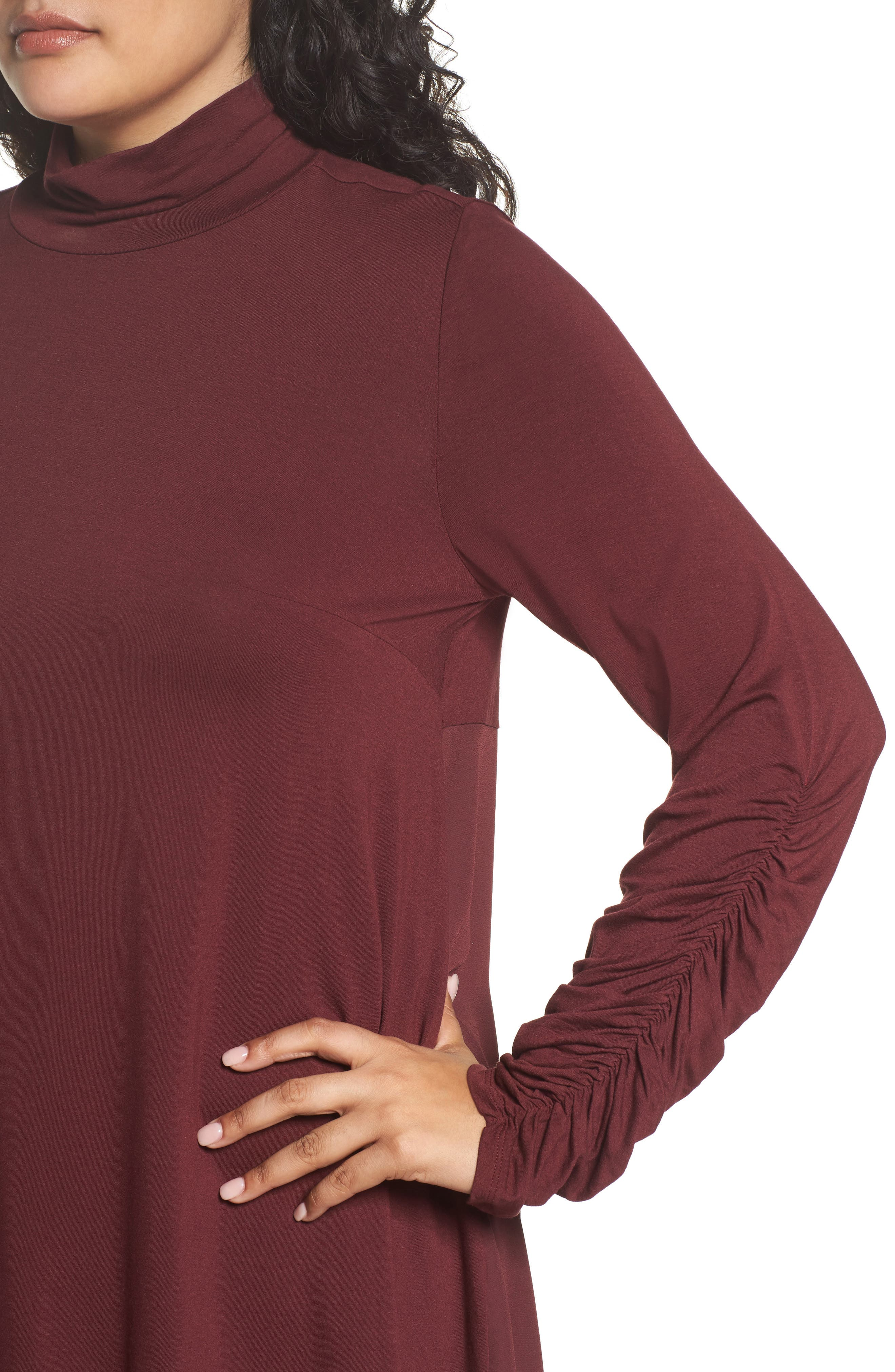 Ruched Sleeve Turtleneck Top,                             Alternate thumbnail 4, color,                             018