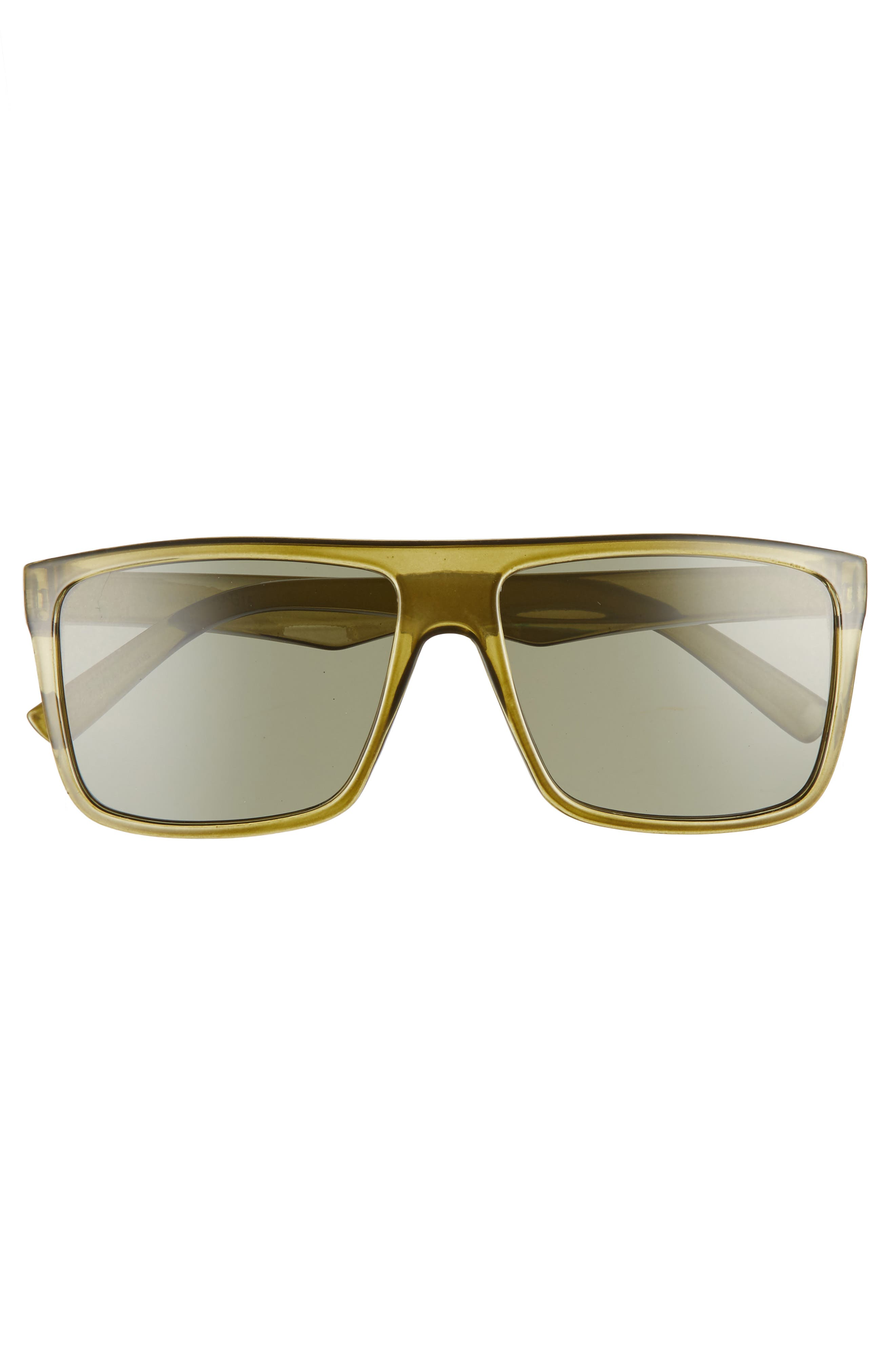 56mm Small Translucent Shield Sunglasses,                             Alternate thumbnail 3, color,                             GREEN/ BLACK