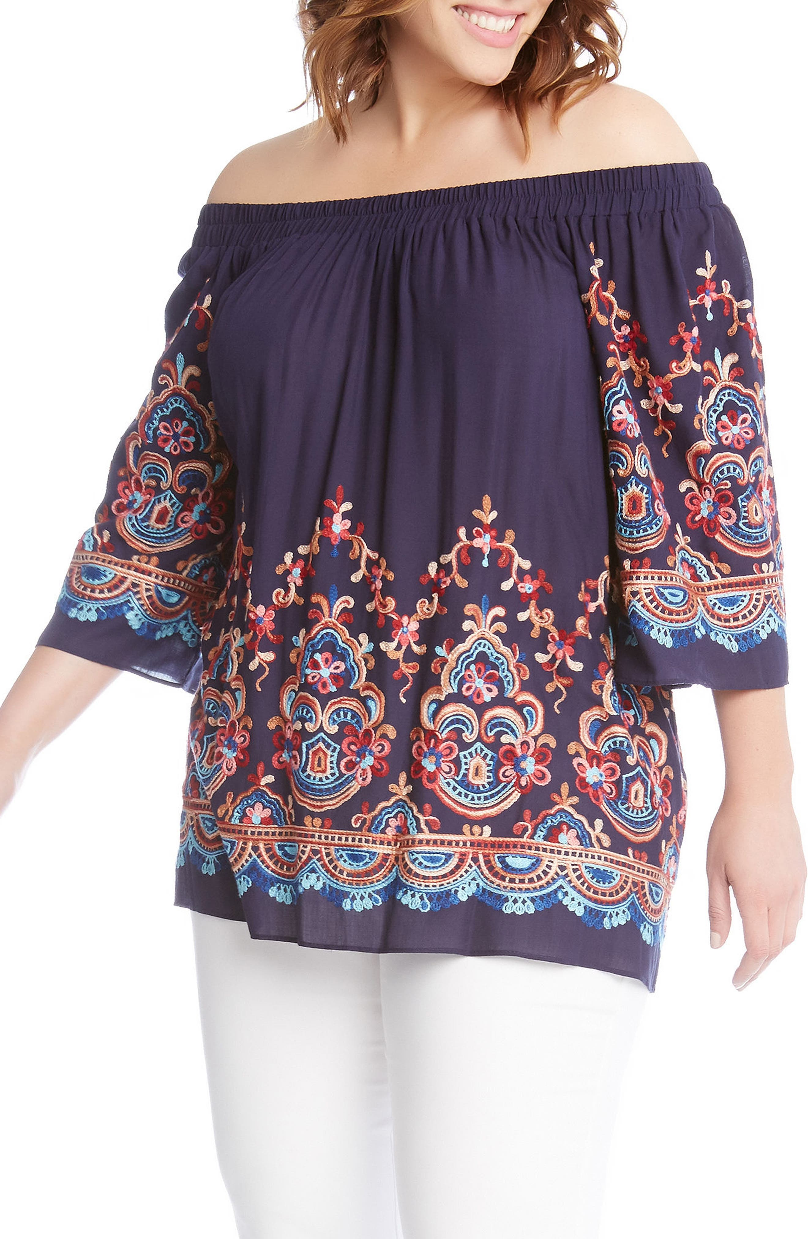 Embroidered Off the Shoulder Top,                             Main thumbnail 1, color,                             410