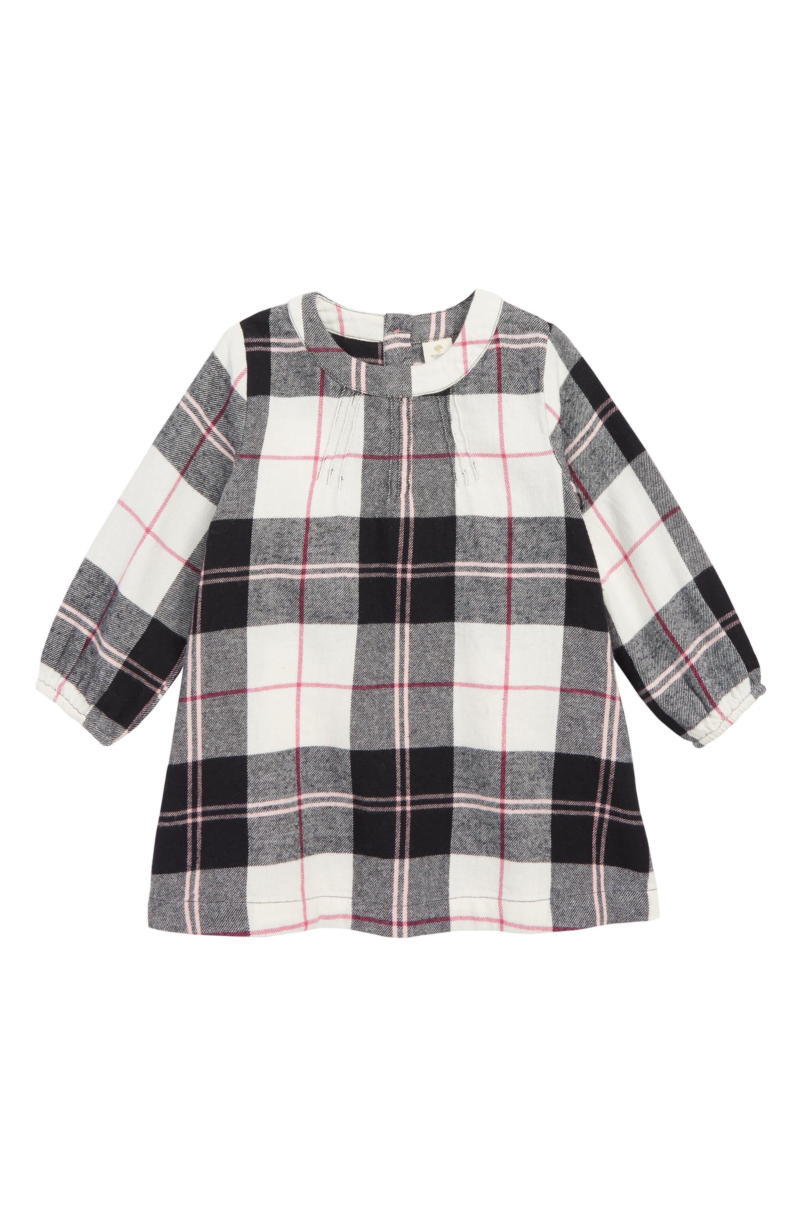 Flannel Dress,                         Main,                         color, BLACK- IVORY WINDOW BUFFALO
