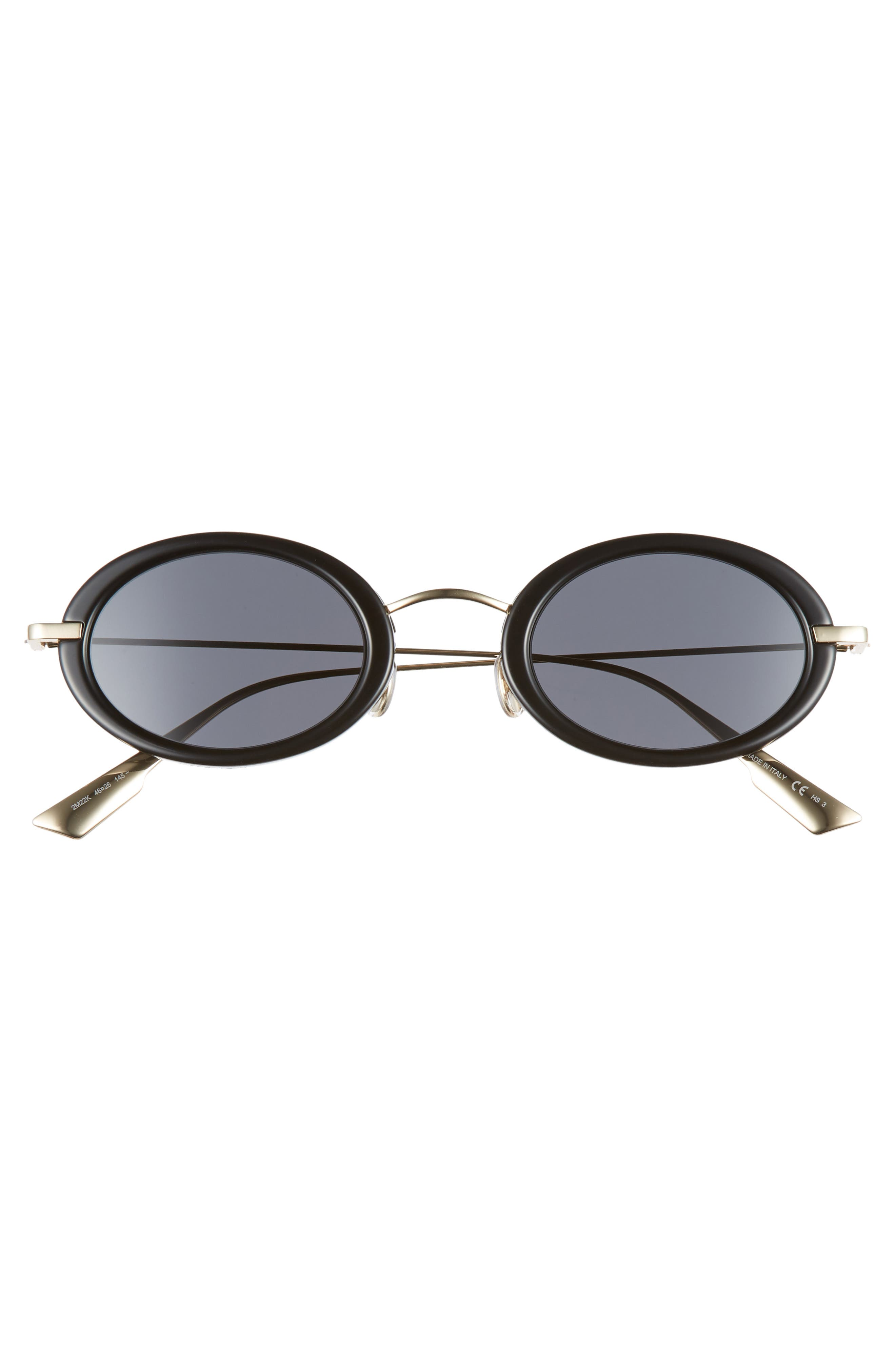 Christian Dior Hypnotic2 46mm Round Sunglasses,                             Alternate thumbnail 3, color,                             BLACK/ ANTIREFLECTIVE/ GOLD