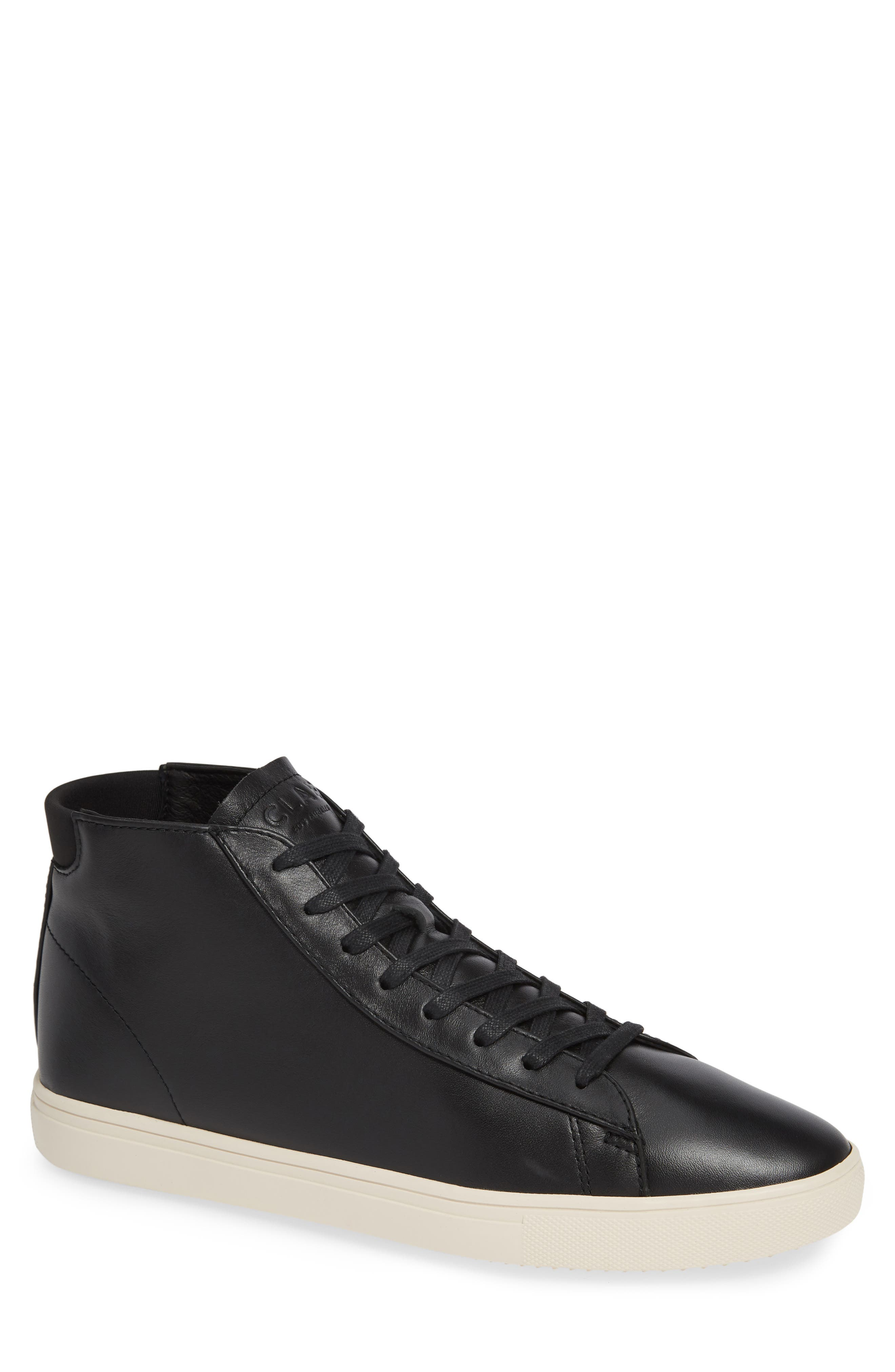 CLAE 'Bradley Mid' Sneaker in Black Milled Tumbled Leather