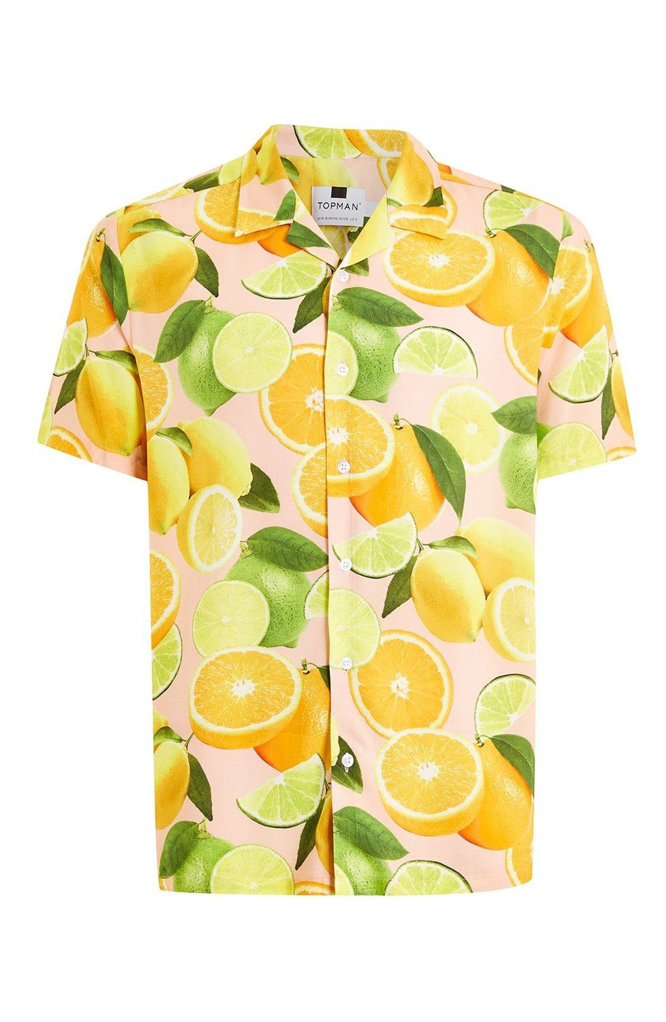 Lemon Print Camp Shirt,                             Alternate thumbnail 4, color,                             650
