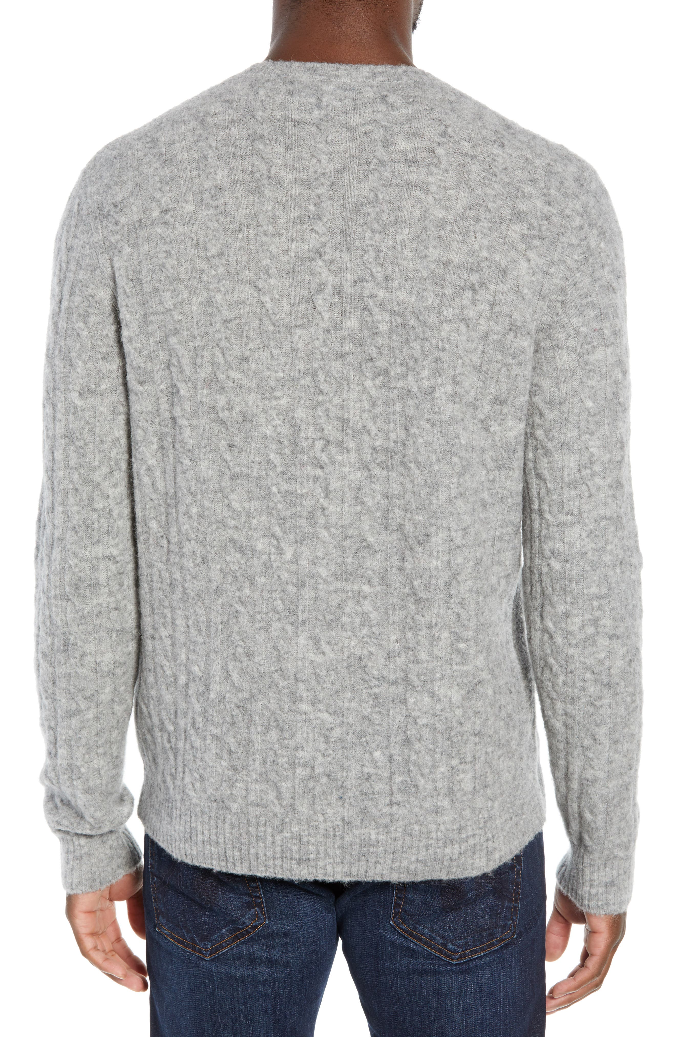 Slim Fit Cable Wool Blend Sweater,                             Alternate thumbnail 2, color,                             HEATHER GREY