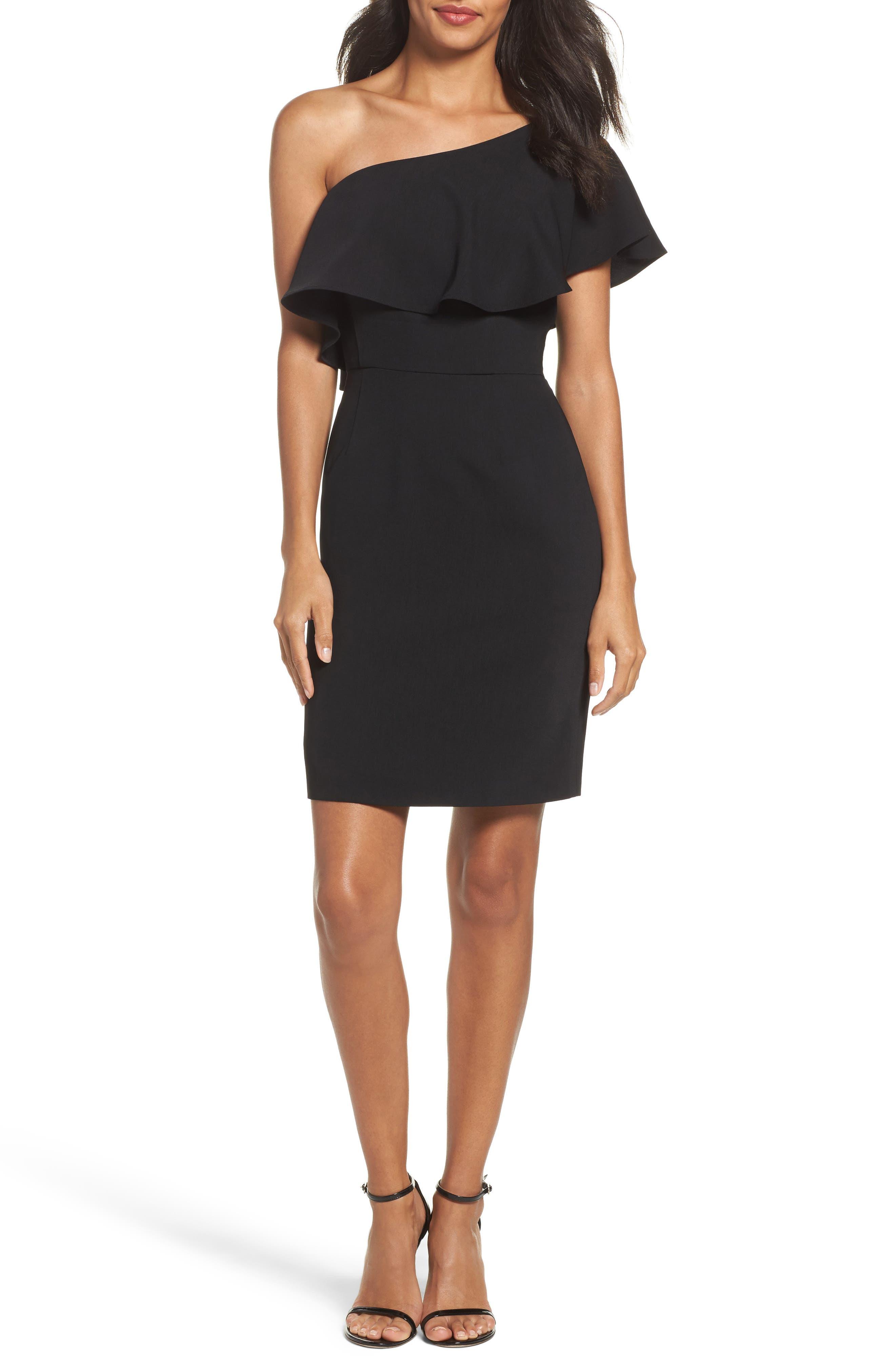 Cale One-Shoulder Crepe Sheath Dress,                             Main thumbnail 1, color,                             001