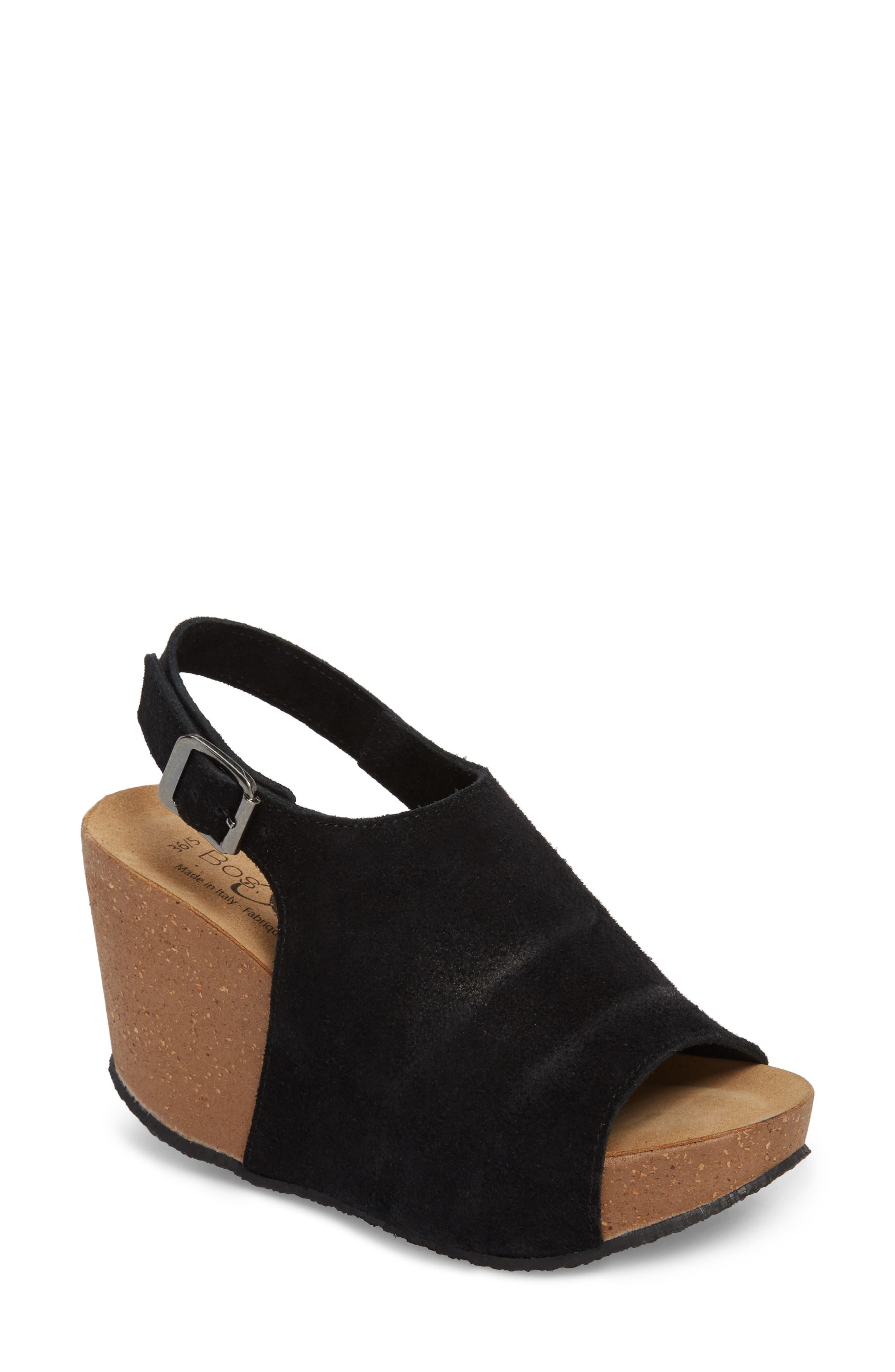 BOS. & CO.,                             Sheila Platform Wedge Sandal,                             Main thumbnail 1, color,                             BLACK NUBUCK