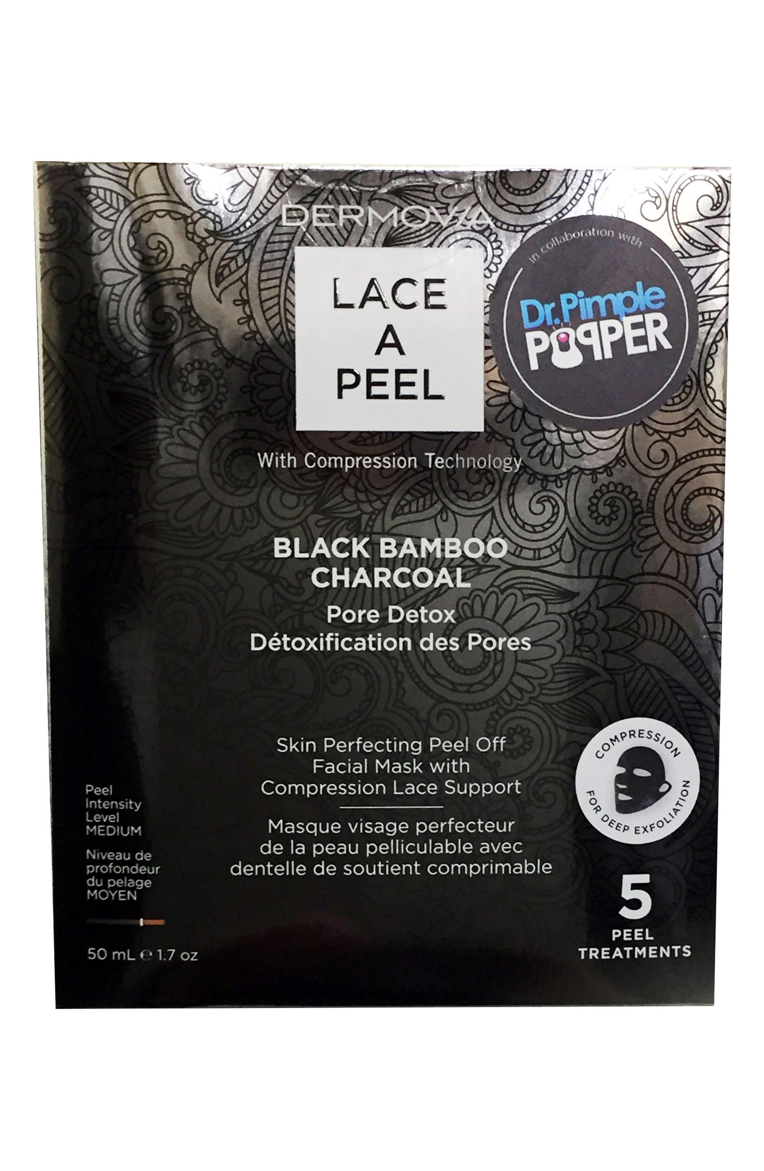 Lace A Peel Black Bamboo Charcoal Peel Off Mask,                             Main thumbnail 1, color,                             NO COLOR