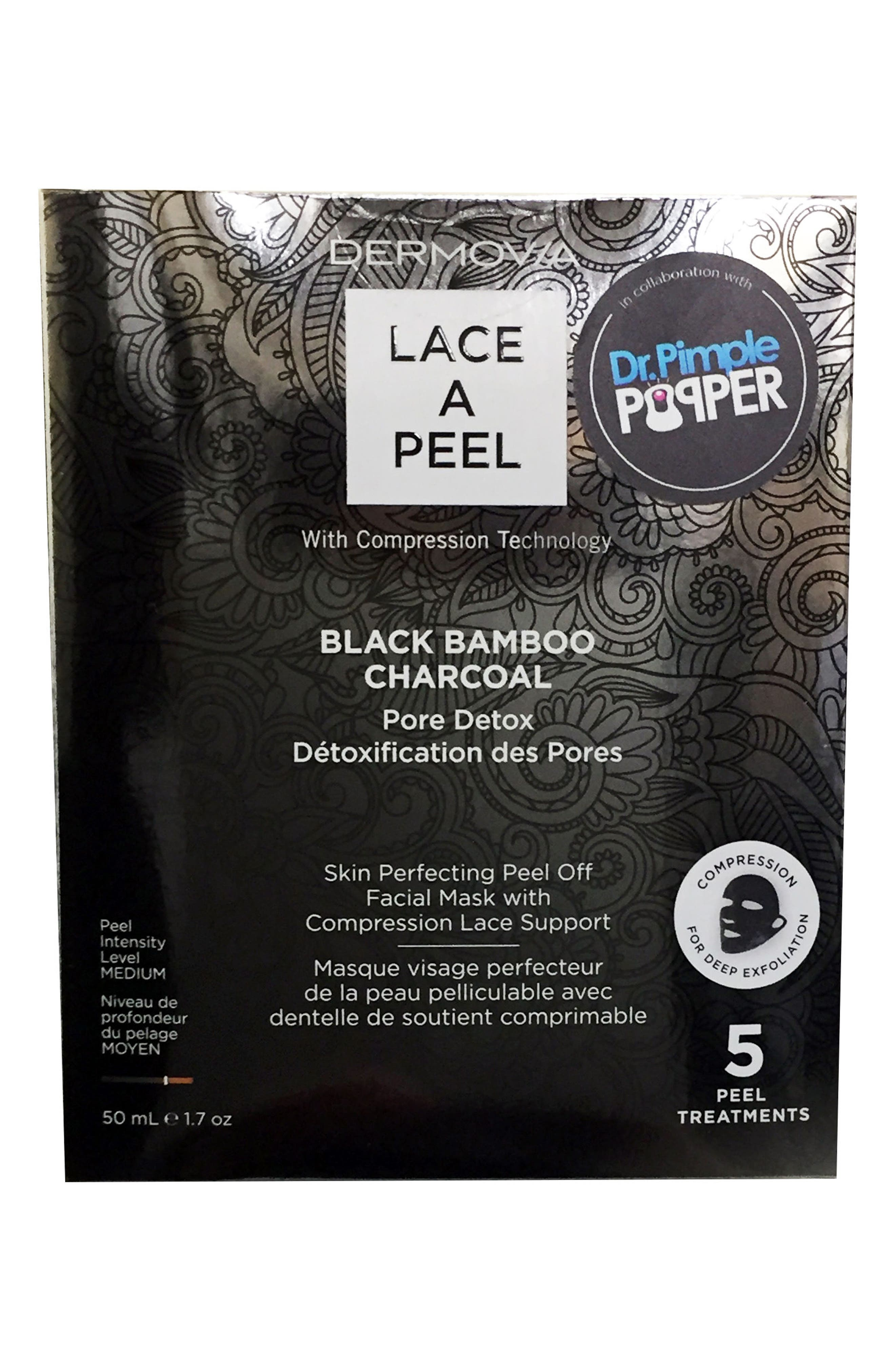 Lace A Peel Black Bamboo Charcoal Peel Off Mask,                         Main,                         color, NO COLOR