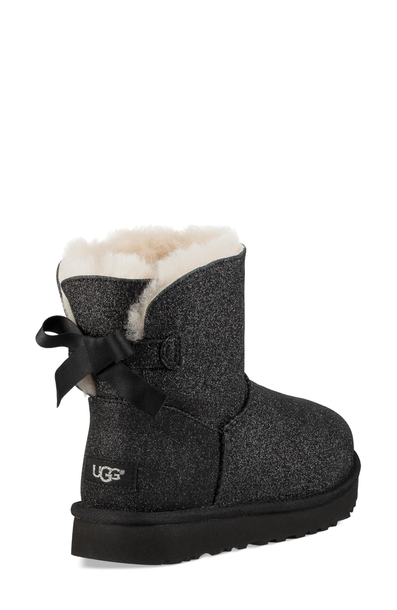 Mini Bailey Bow Sparkle Genuine Shearling Boot,                             Alternate thumbnail 2, color,                             001