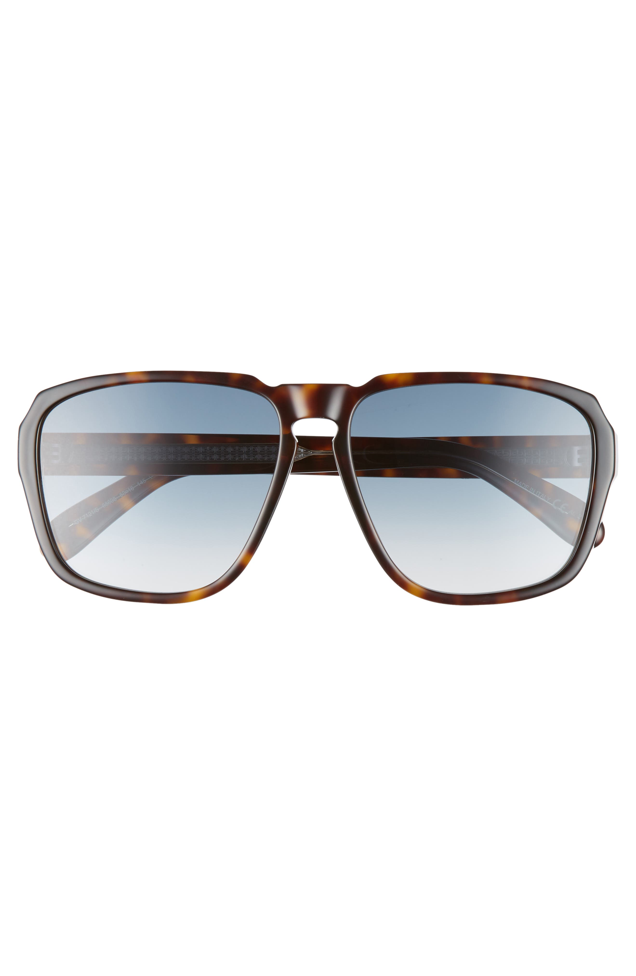 60mm Flat Top Sunglasses,                             Alternate thumbnail 3, color,                             DARK HAVANA