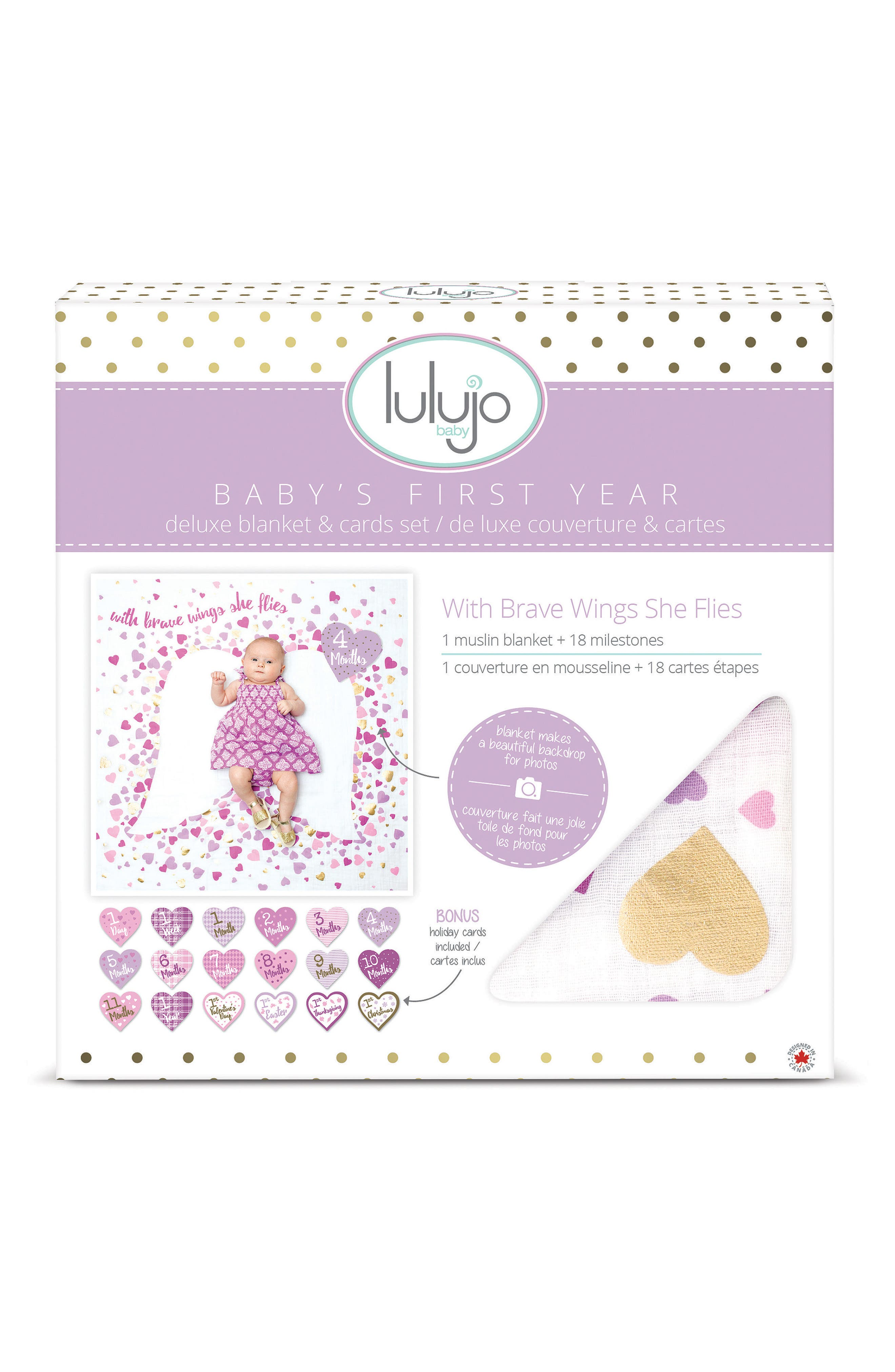 Baby's First Year - With Brave Wings She Flies Muslin Blanket & Milestone Card Set,                             Alternate thumbnail 2, color,                             PINK