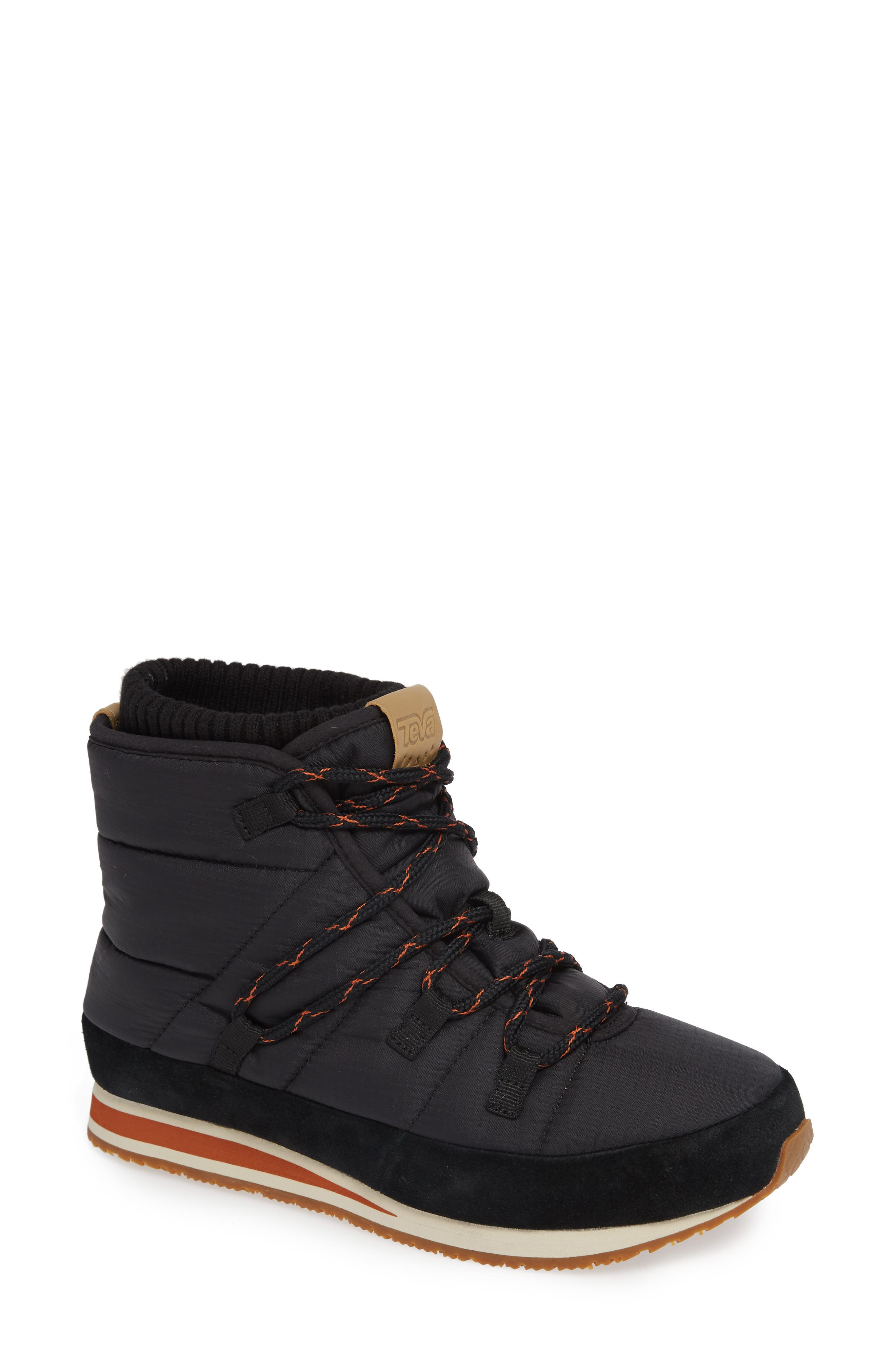 Ember Lace-Up Winter Bootie,                             Main thumbnail 1, color,                             BLACK FABRIC
