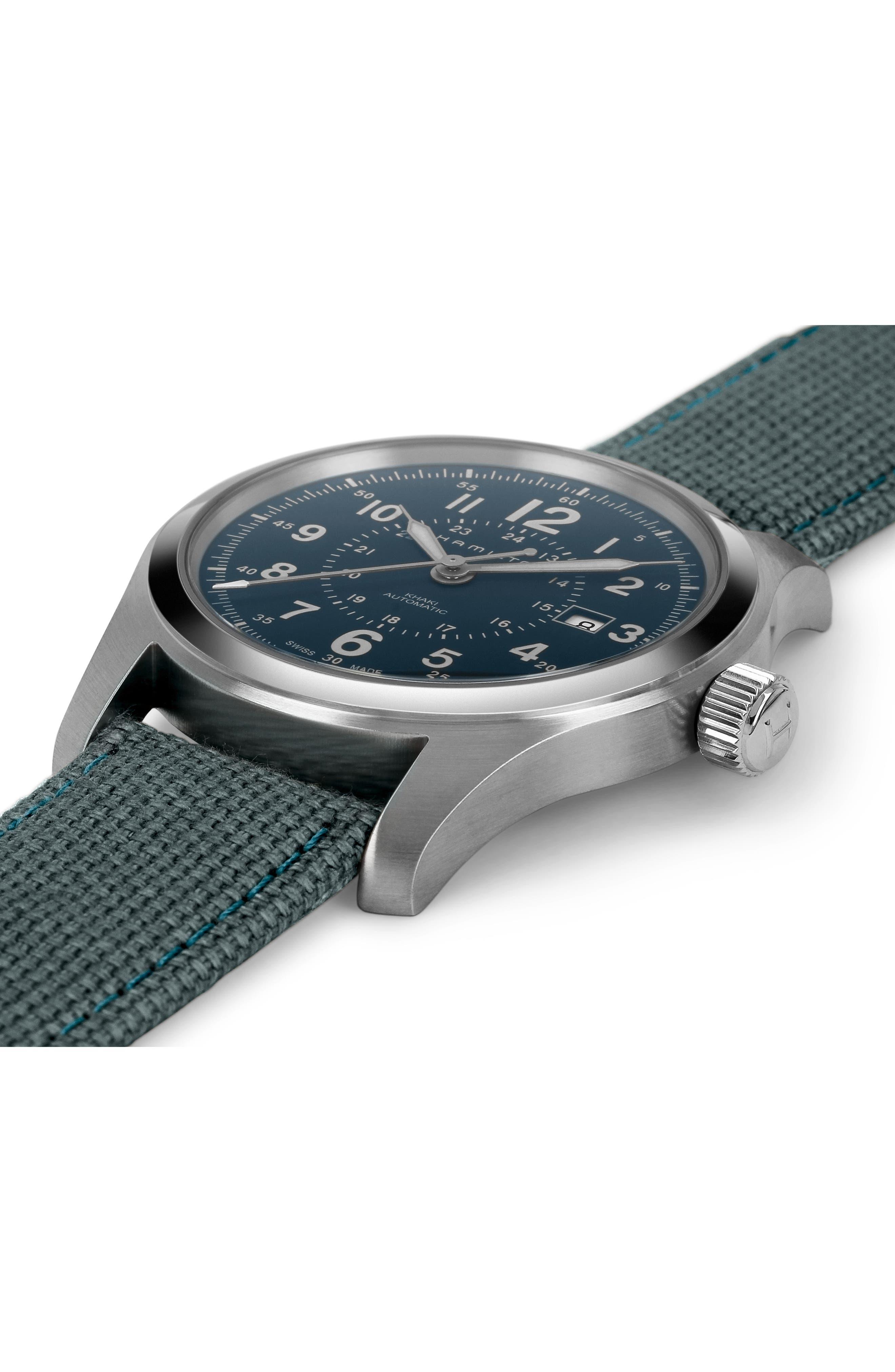 Khaki Field Automatic Canvas Strap Watch, 42mm,                             Alternate thumbnail 3, color,                             BLUE/ SILVER