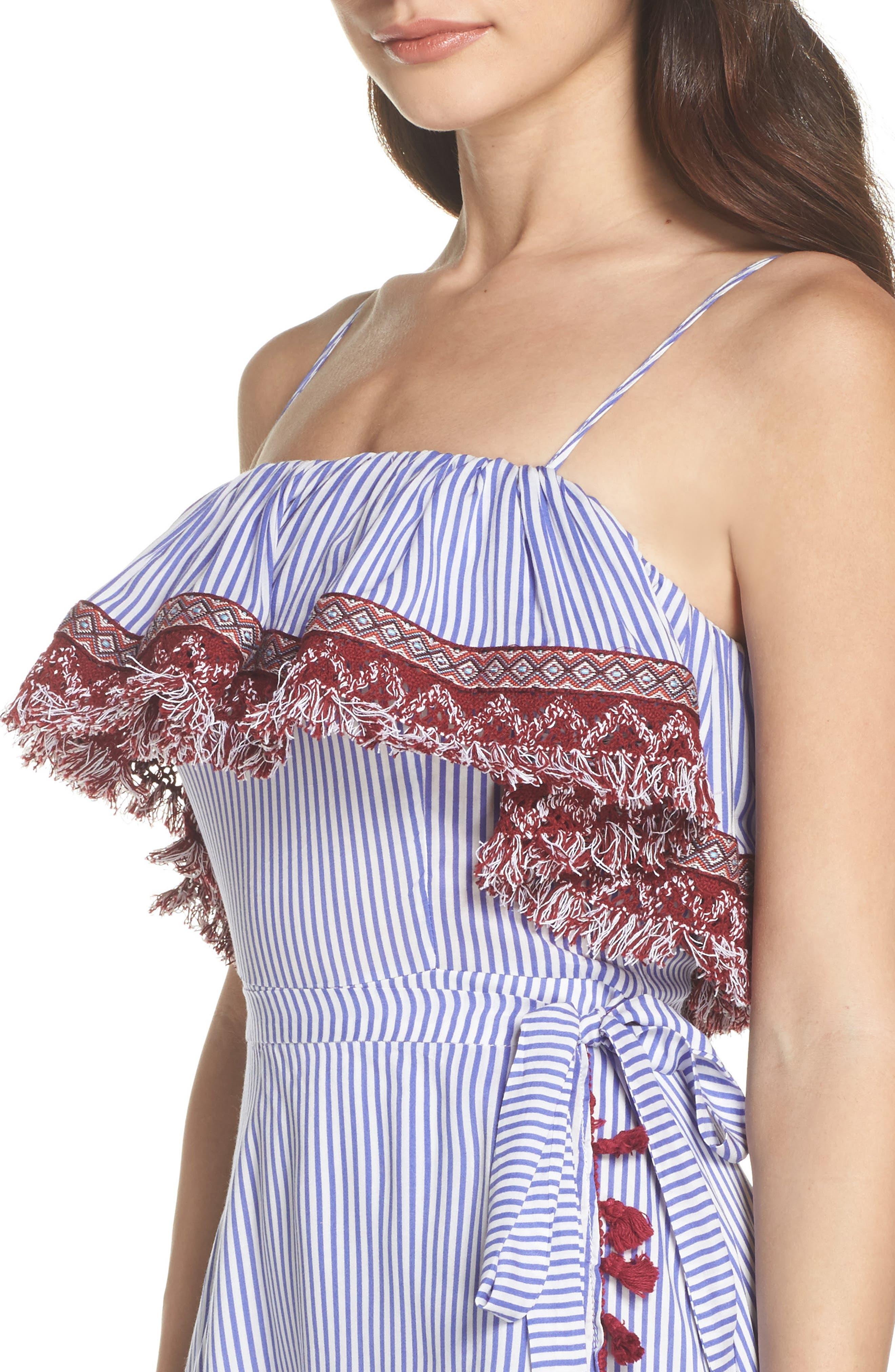 Stripe Ruffle Maxi Dress,                             Alternate thumbnail 4, color,