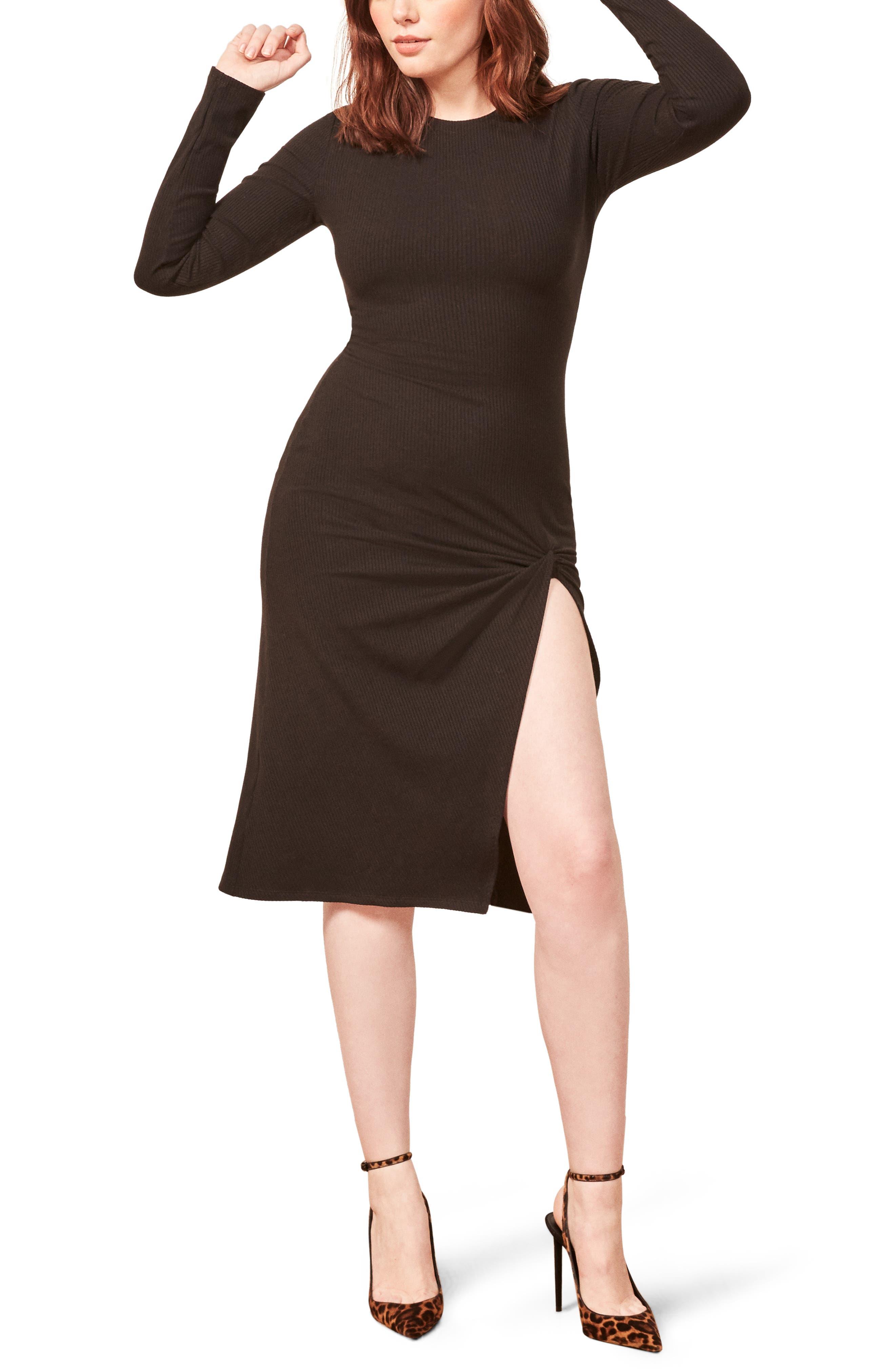 Piazza Ribbed Dress,                         Main,                         color, BLACK