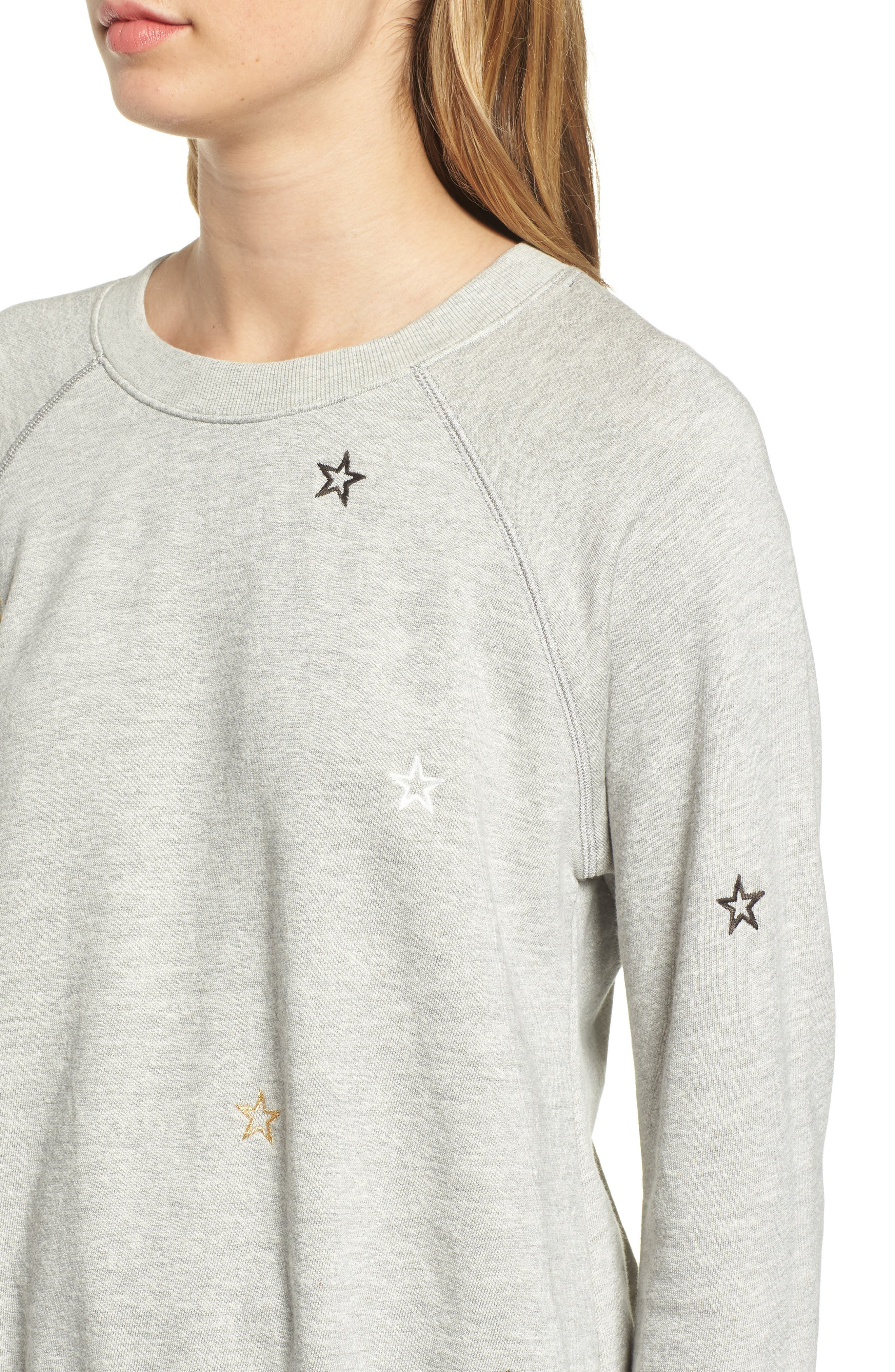 Star Embroidered Sweatshirt,                             Alternate thumbnail 4, color,                             HEATHER GREY