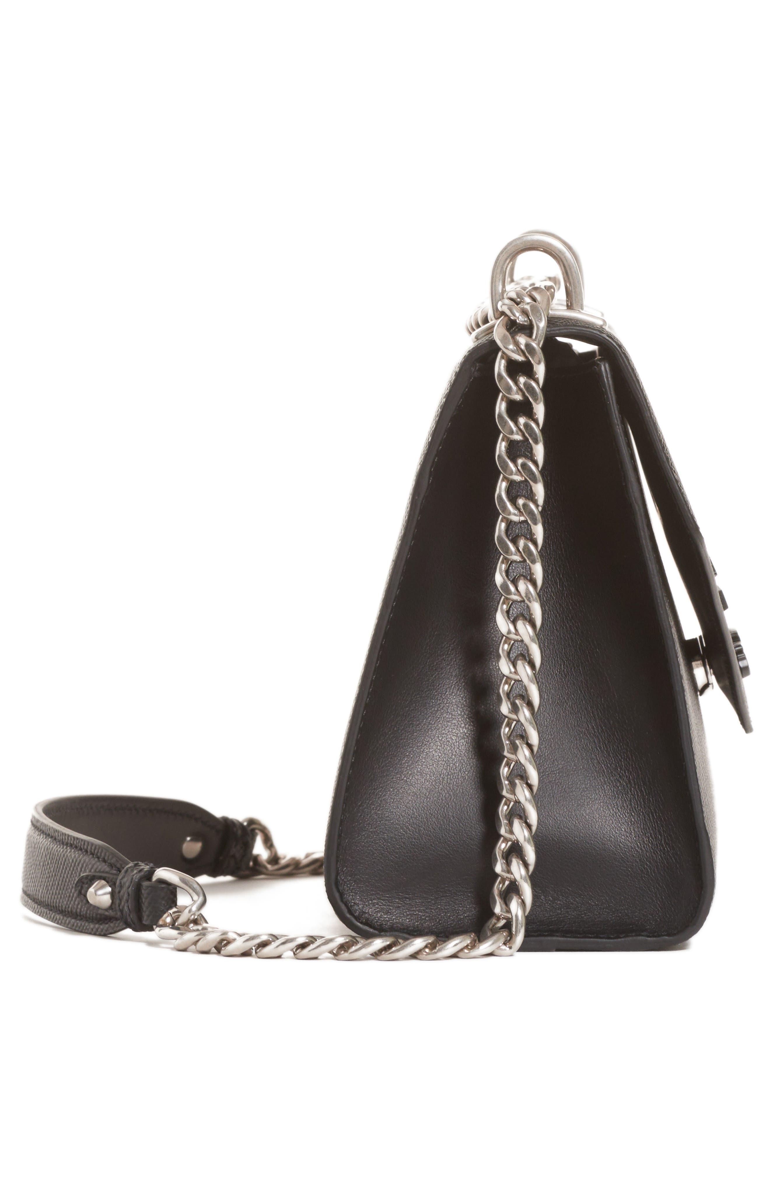 PRADA,                             Monochrome Saffiano Leather Shoulder Bag,                             Alternate thumbnail 4, color,                             NERO