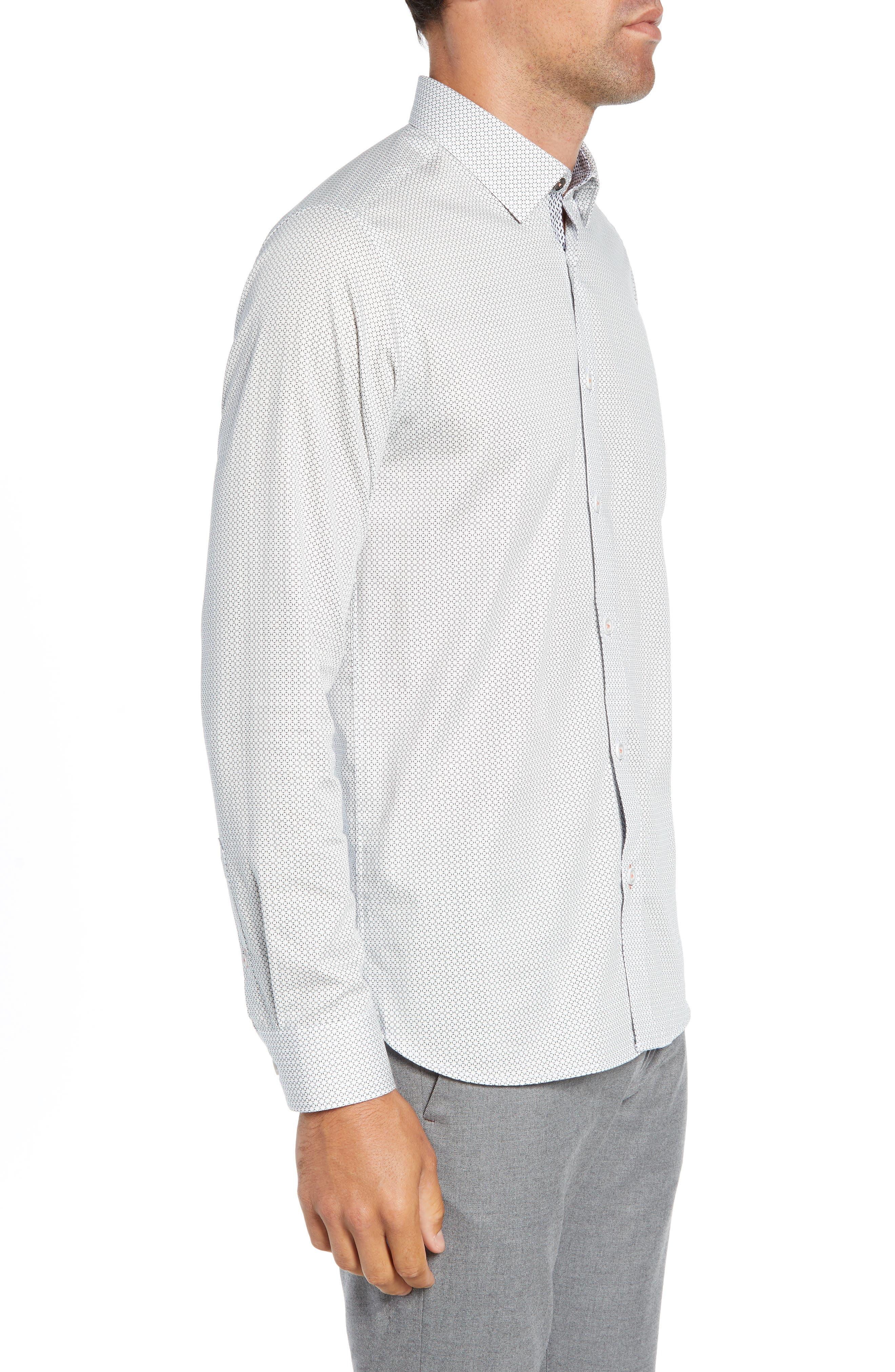Jenkins Slim Fit Geometric Sport Shirt,                             Alternate thumbnail 4, color,                             WHITE