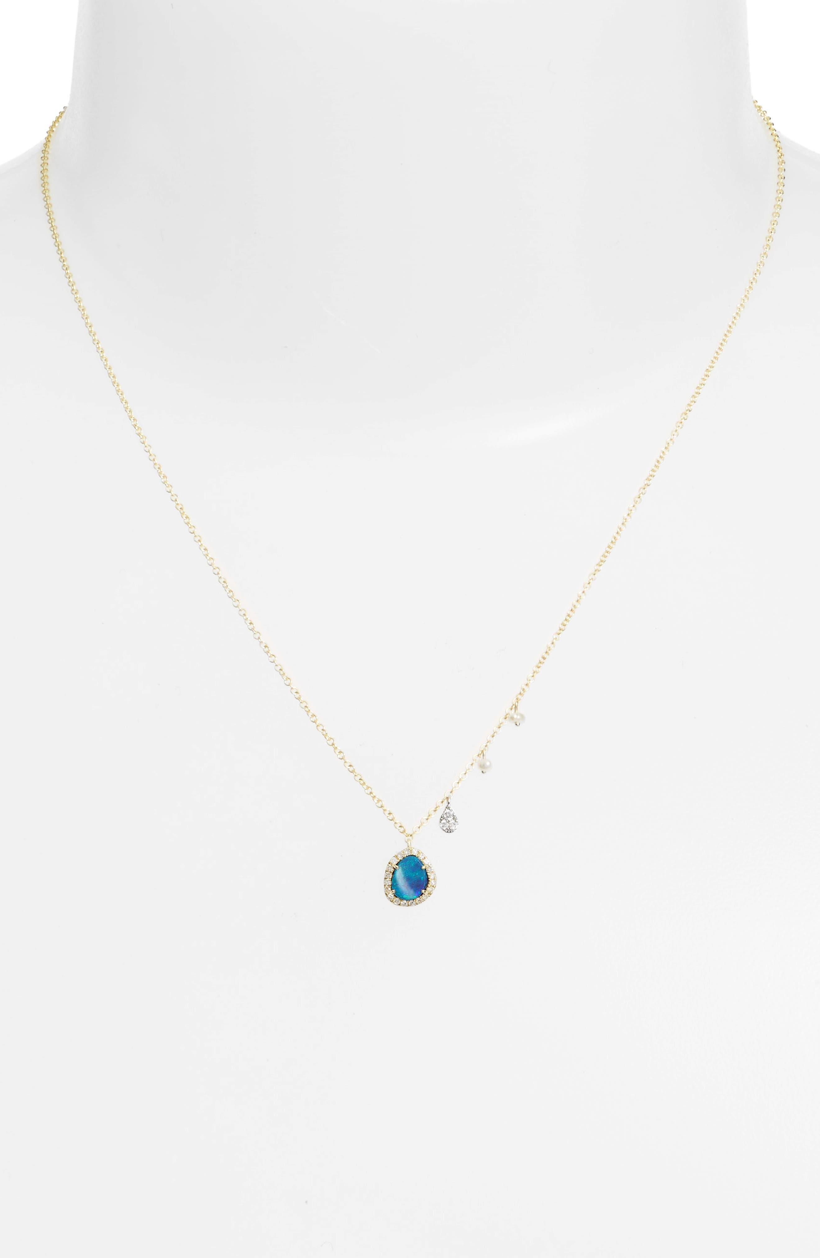 Mini Stone Diamond Pendant Necklace,                             Alternate thumbnail 2, color,                             YELLOW GOLD/ OPAL