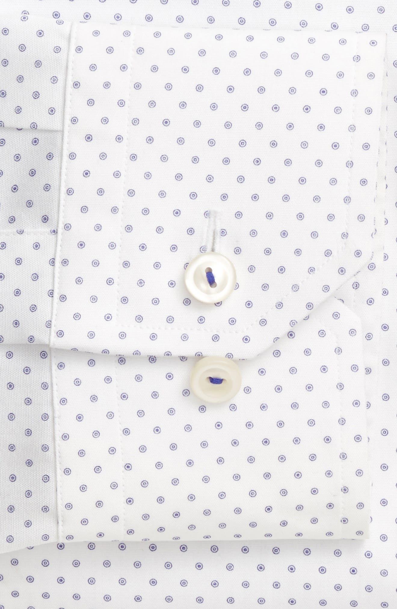 Slim Fit Dot Dress Shirt,                             Alternate thumbnail 4, color,                             100