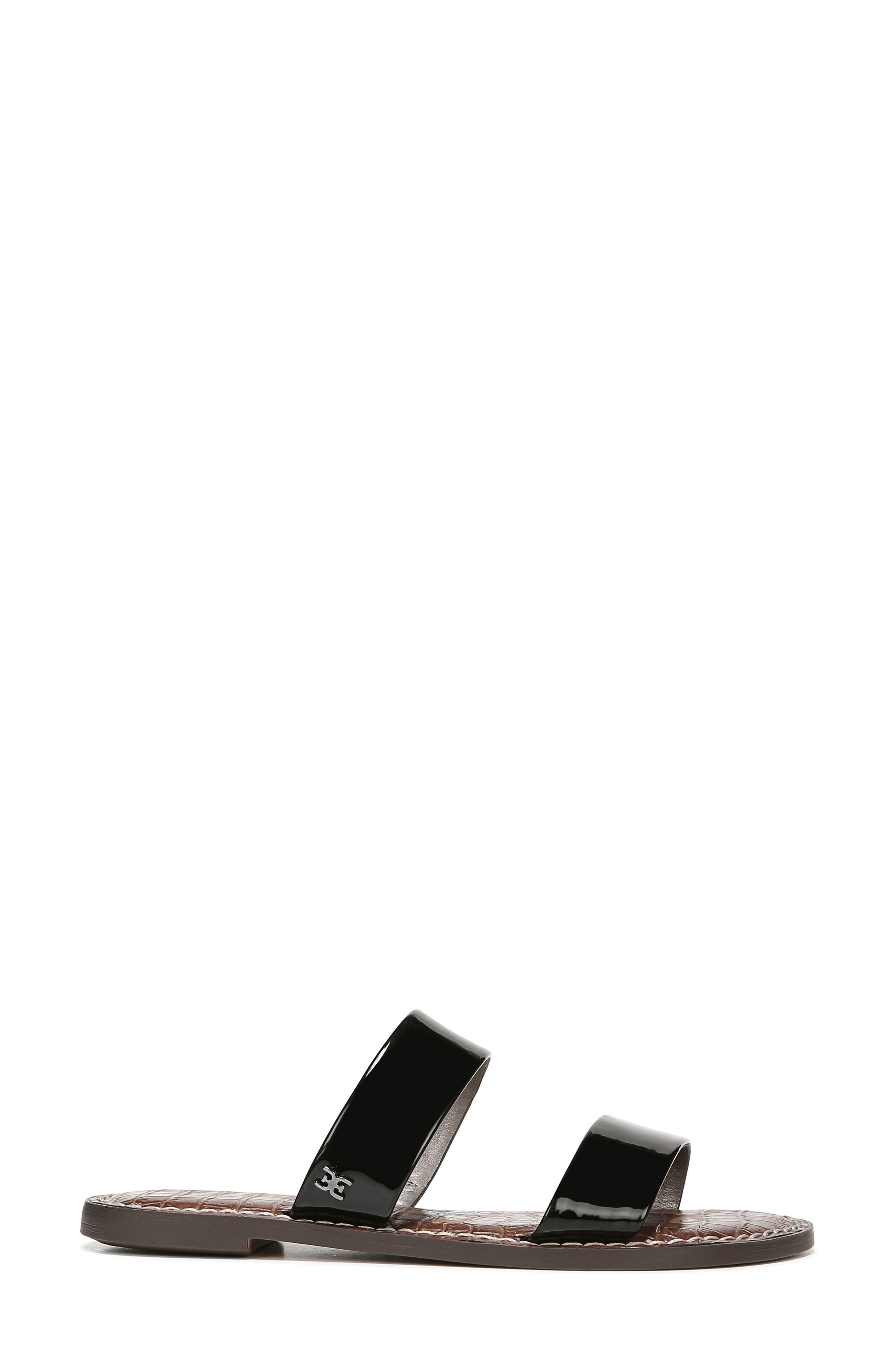 SAM EDELMAN,                             Gala Two Strap Slide Sandal,                             Alternate thumbnail 2, color,                             BLACK FAUX PATENT LEATHER