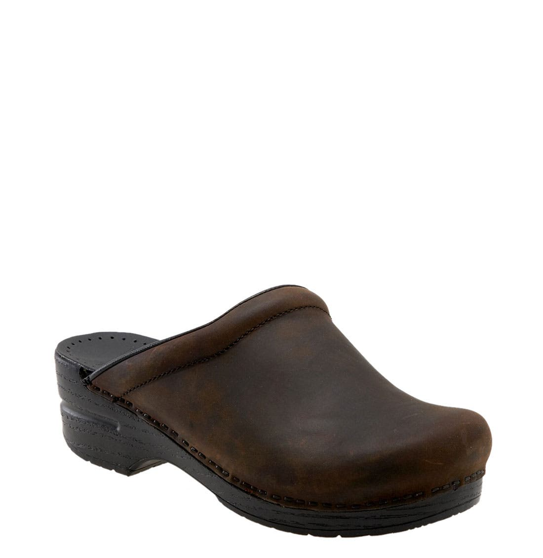 'Sonja' Oiled Leather Clog,                             Main thumbnail 1, color,                             ANTIQUE BROWN OILED