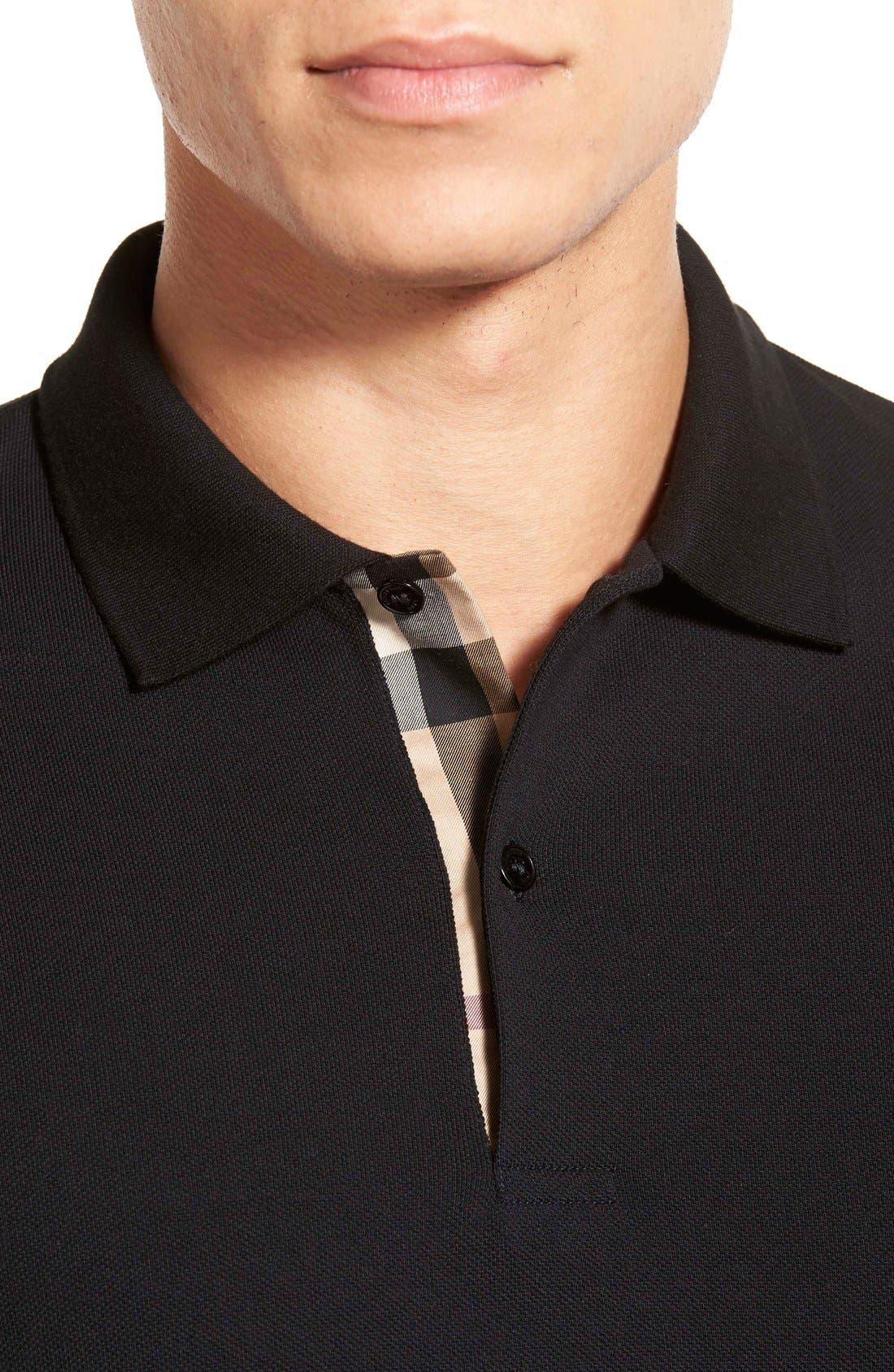 Brit 'Oxford' Long Sleeve Polo,                             Alternate thumbnail 5, color,                             001
