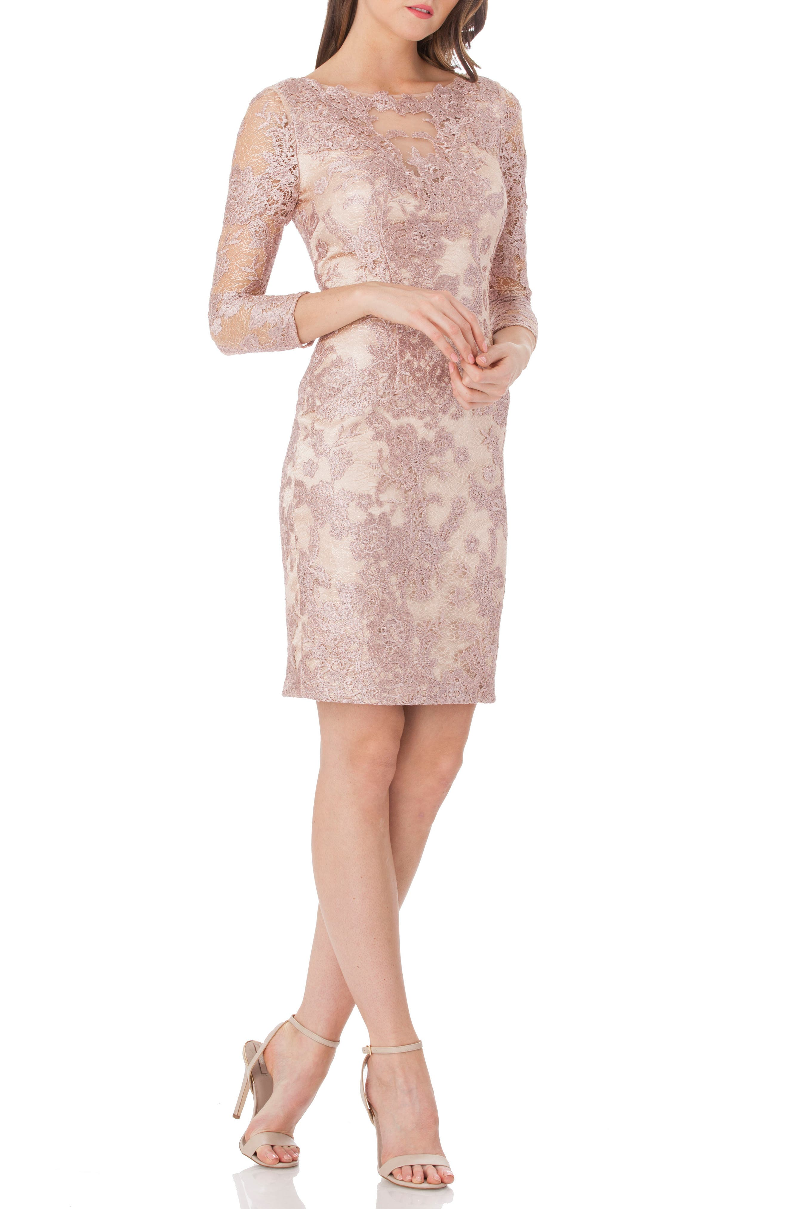 Embroidered Lace Cocktail Dress,                         Main,                         color, LILAC/ PINK