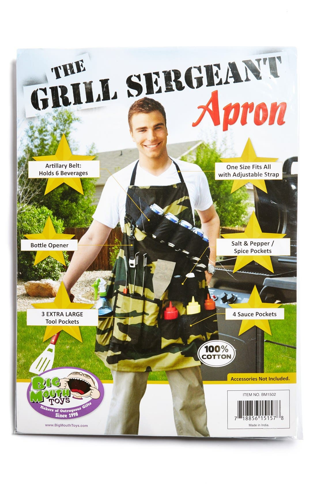 BIGMOUTH INC Big Mouth Toys 'The Grill Sergeant' Camouflage Apron, Main, color, 300