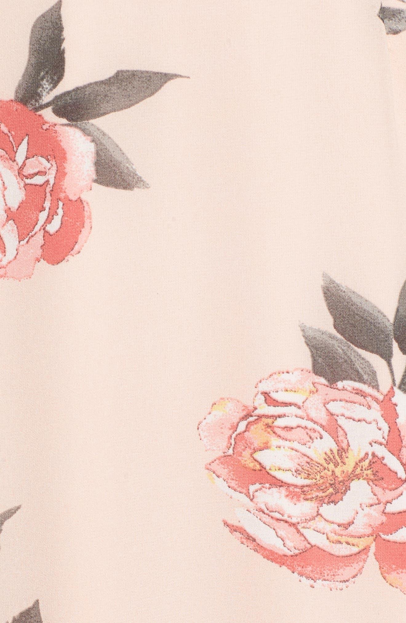 Floral Maxi Dress,                             Alternate thumbnail 6, color,                             LIGHT PEACH