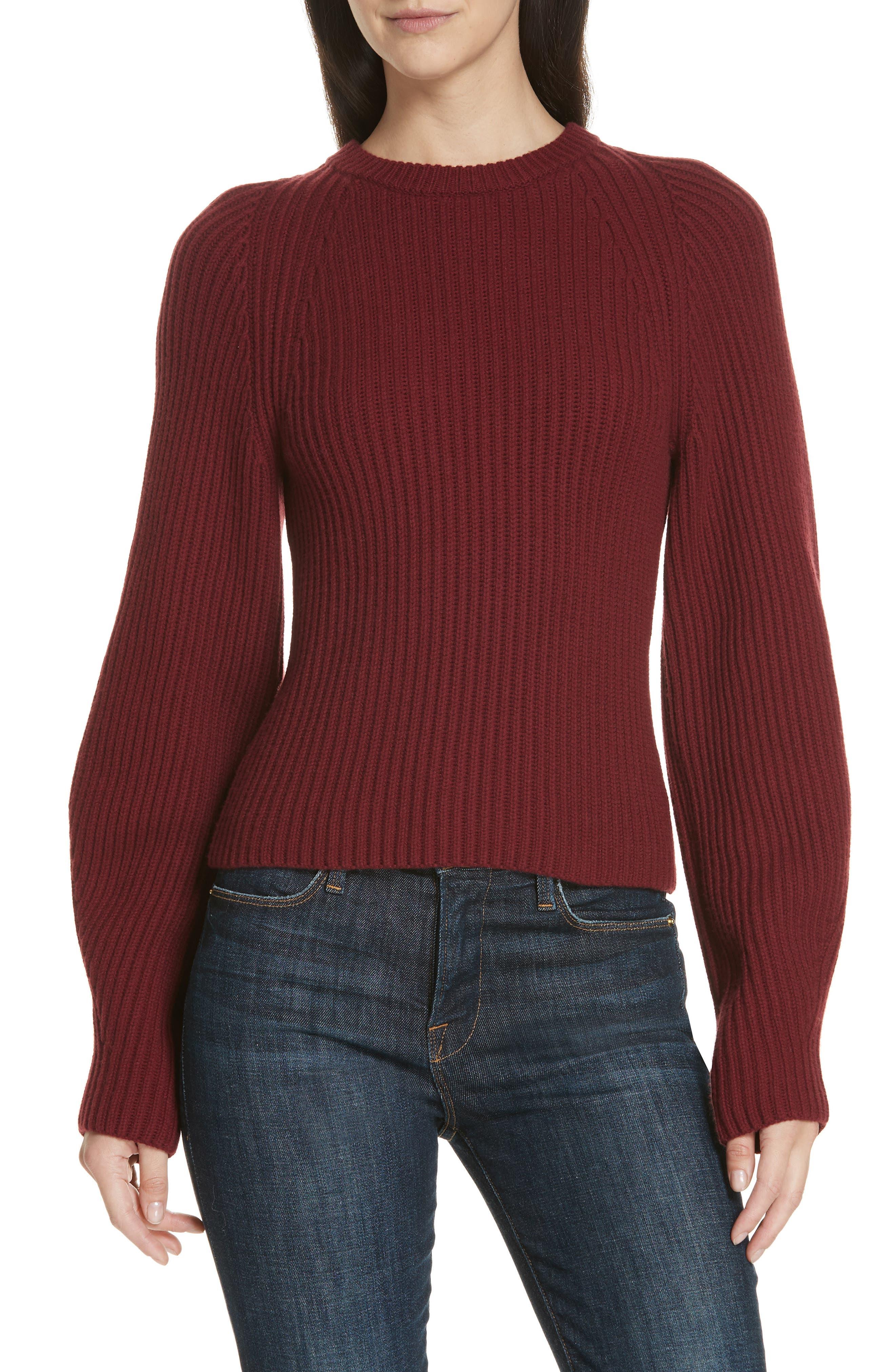 Theory Sculpted Sleeve Shaker Stitch Merino Wool Sweater, Burgundy