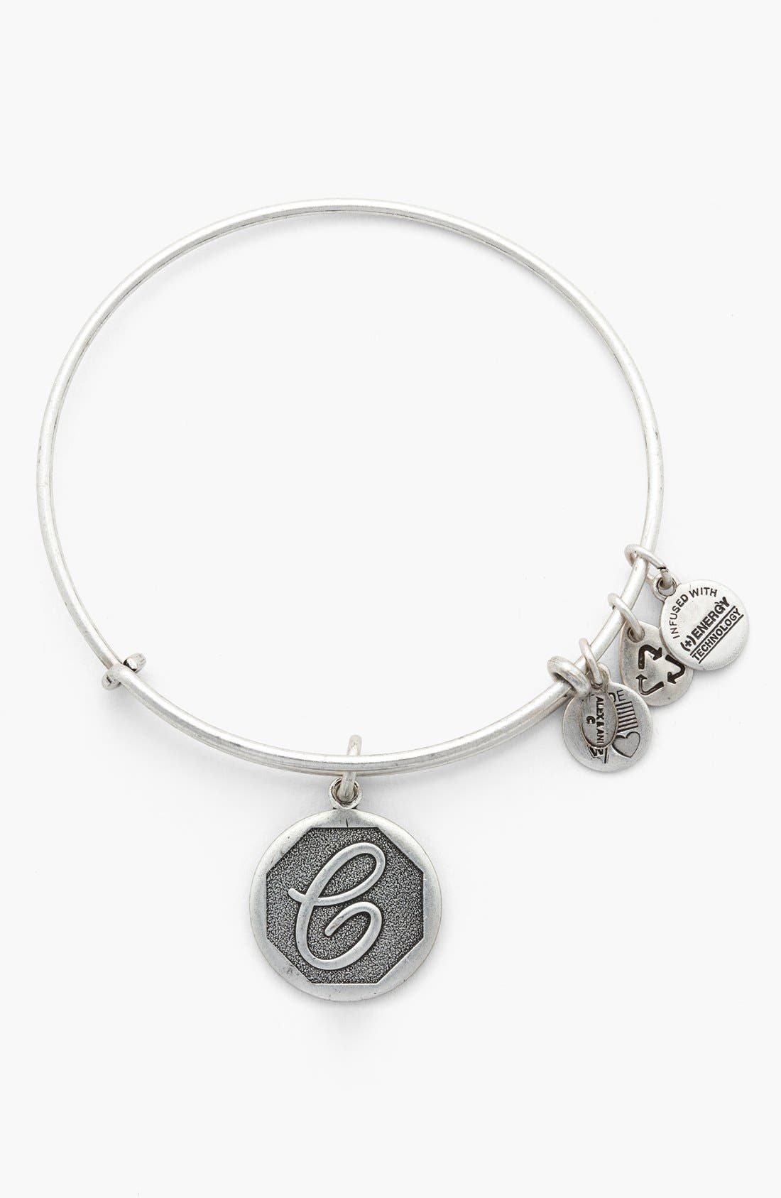 'Initial' Adjustable Wire Bangle,                             Main thumbnail 4, color,