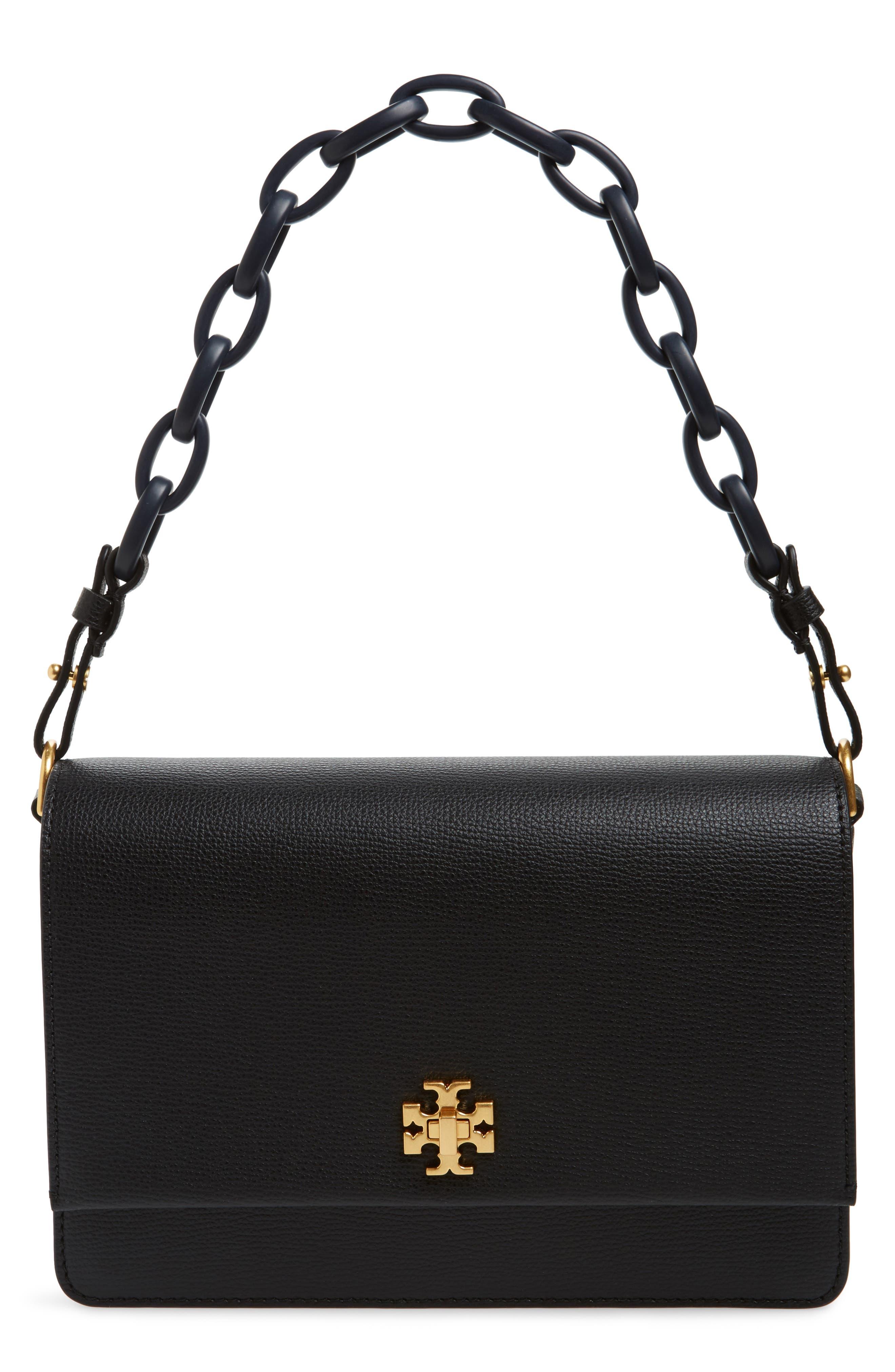 Kira Leather Shoulder Bag,                         Main,                         color, BLACK