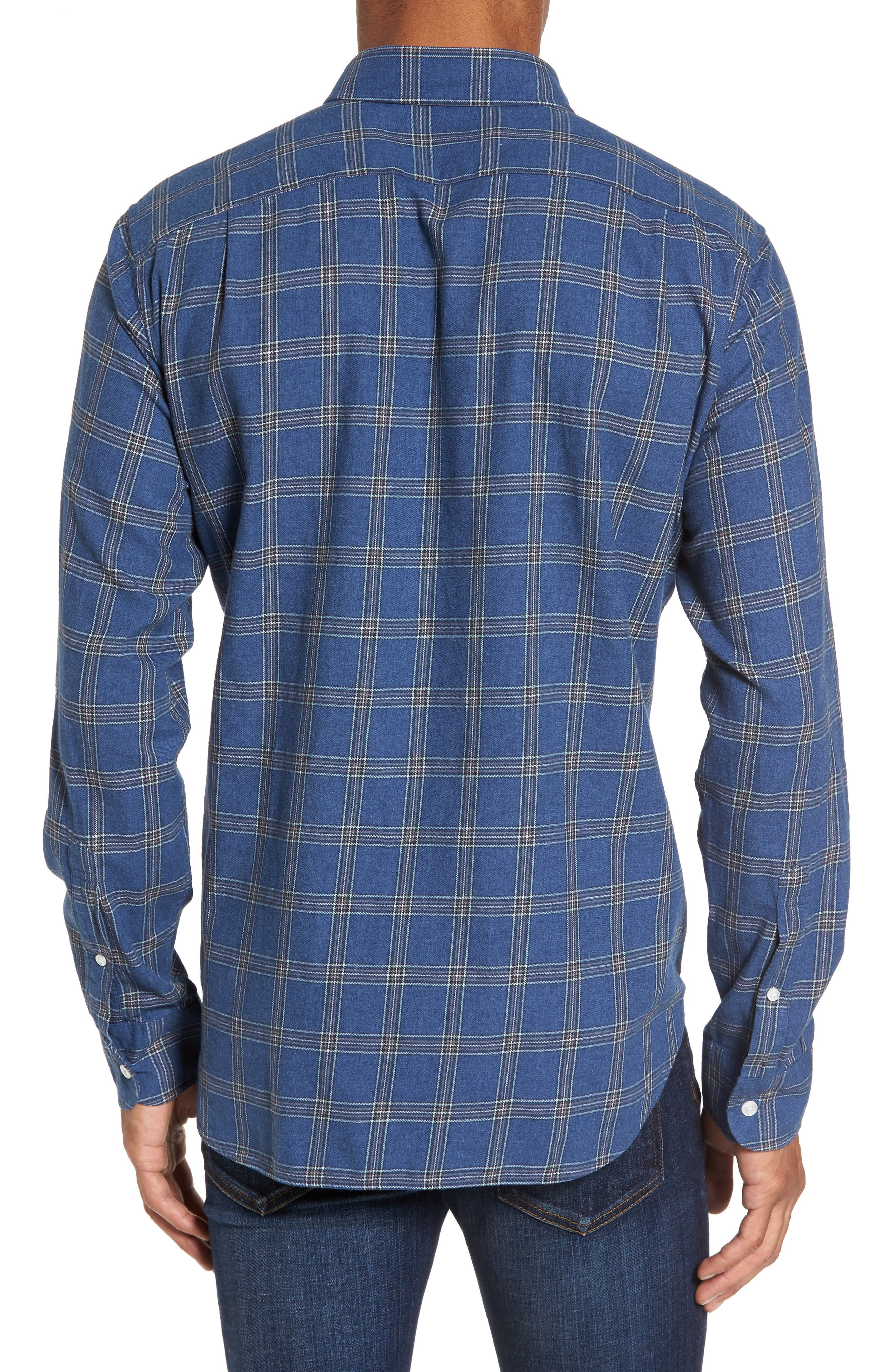 Slim Fit Plaid Twill Sport Shirt,                             Alternate thumbnail 2, color,