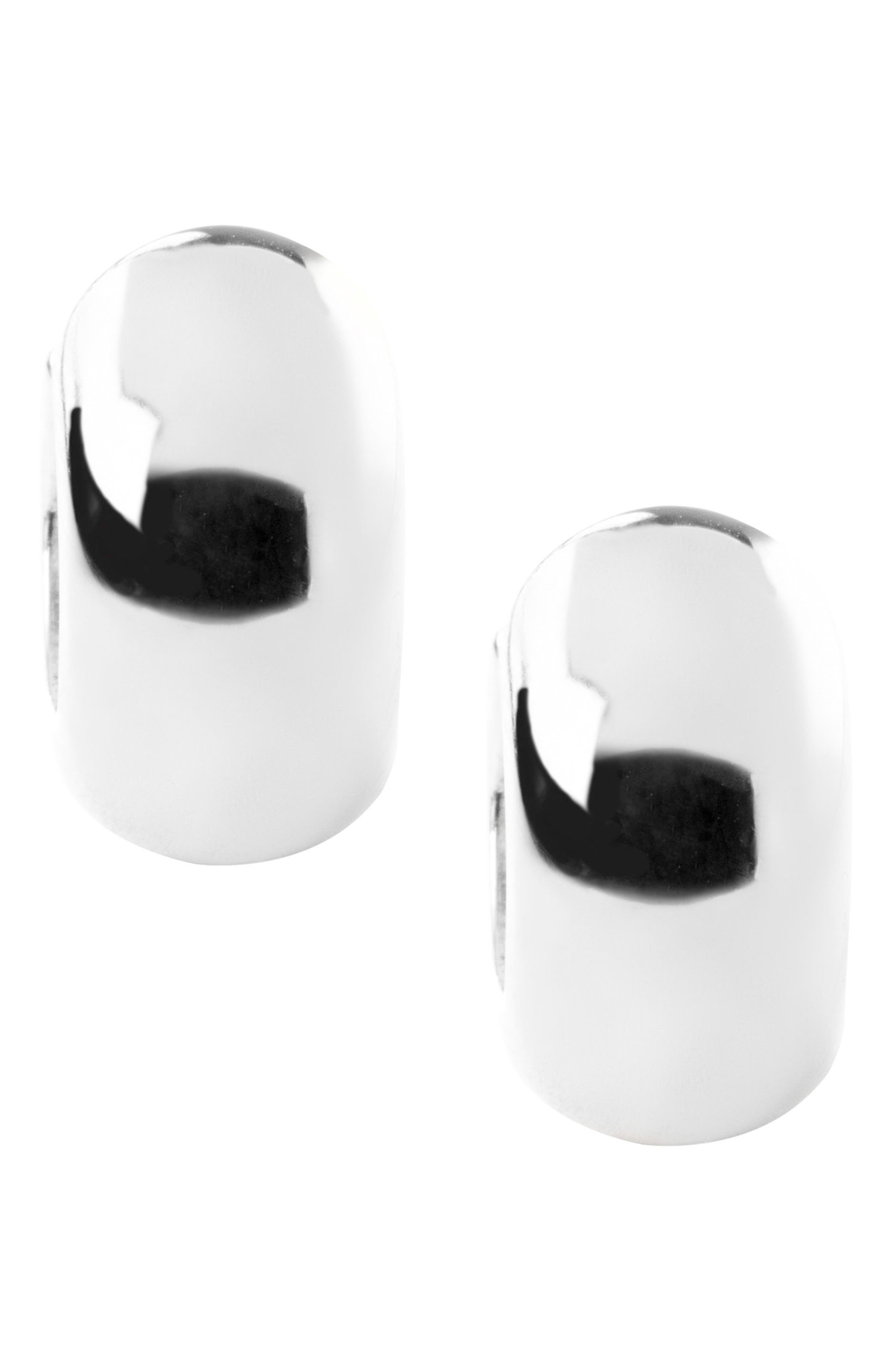 ERWIN PEARL,                             Stripe Black Segmented Hug Earrings,                             Alternate thumbnail 3, color,                             BLACK