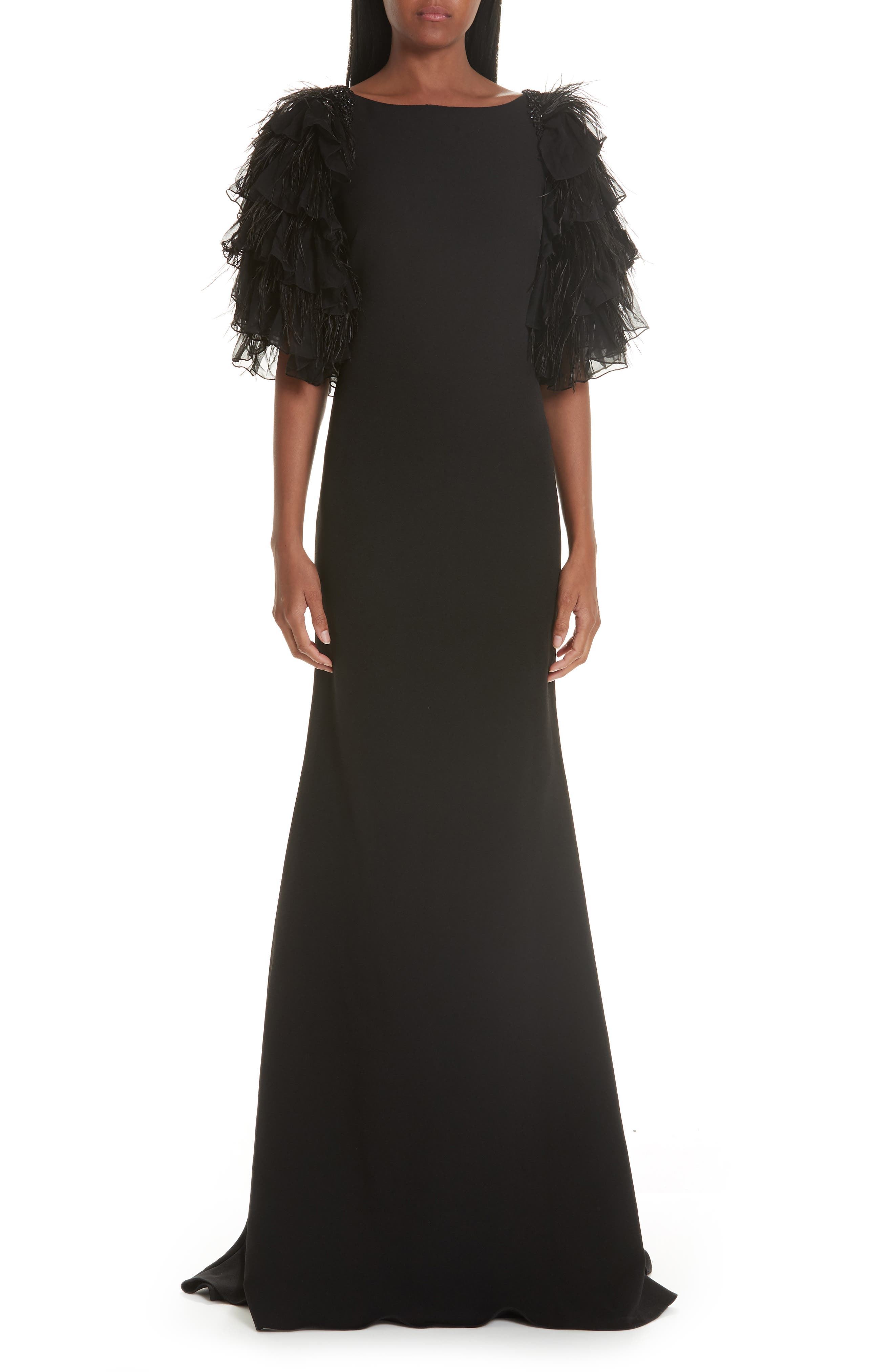 BADGLEY & MISCHKA High-Neck Feather Tiered Ruffle-Sleeve Gown in Black