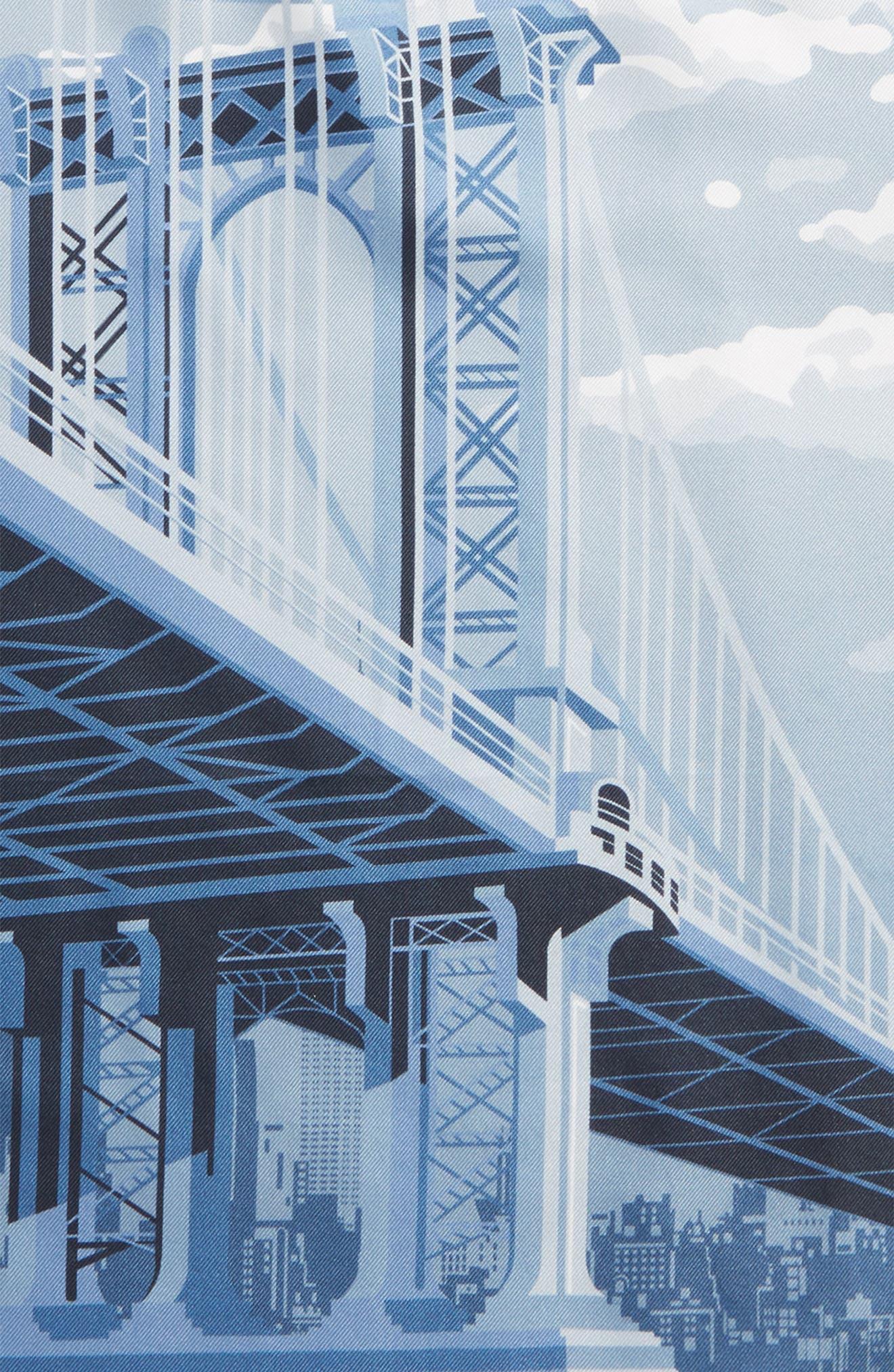Manhattan Bridge Silk Pocket Square,                             Alternate thumbnail 3, color,                             GREY